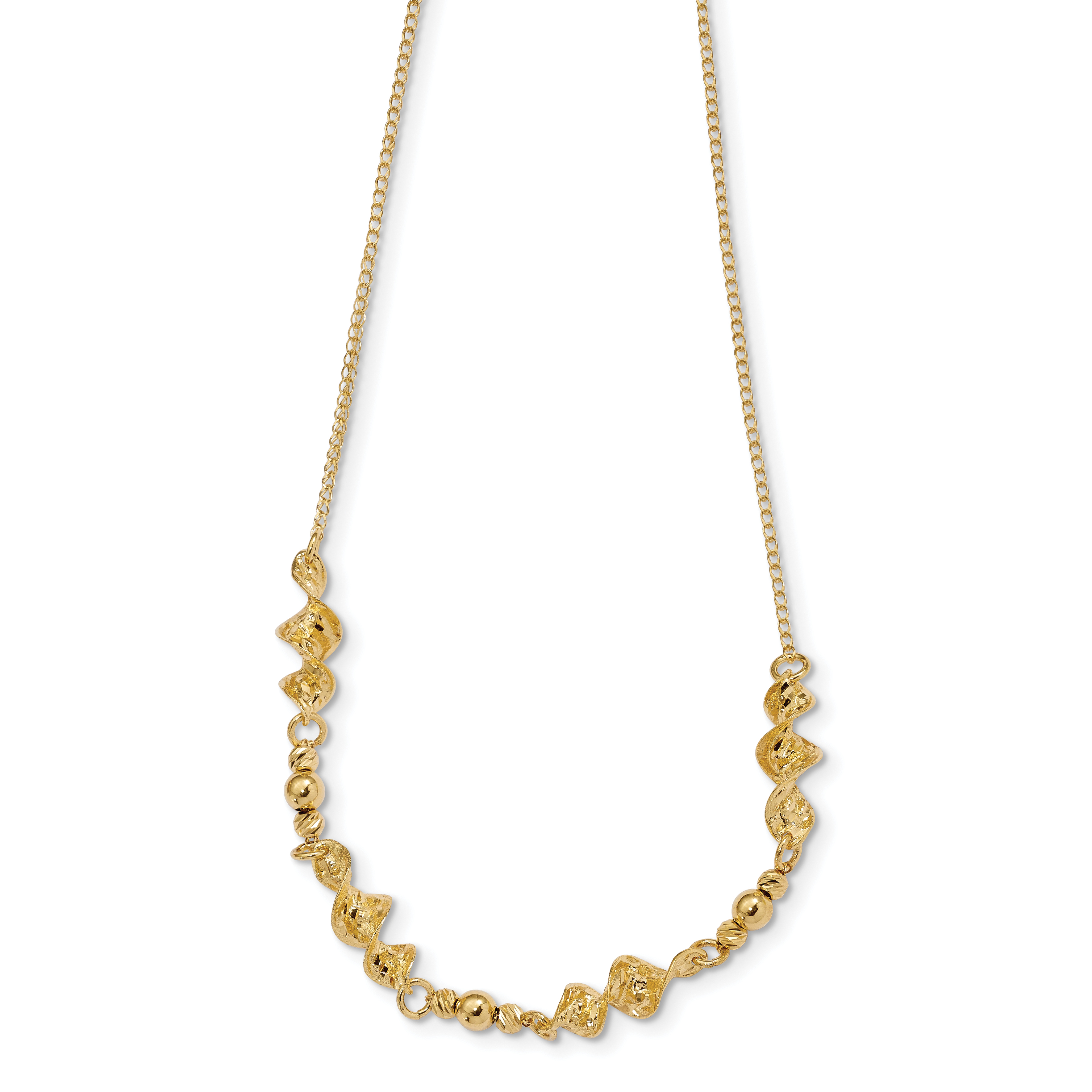 Leslie's 14K Polished & D/C Twisted w/1 in ext Necklace