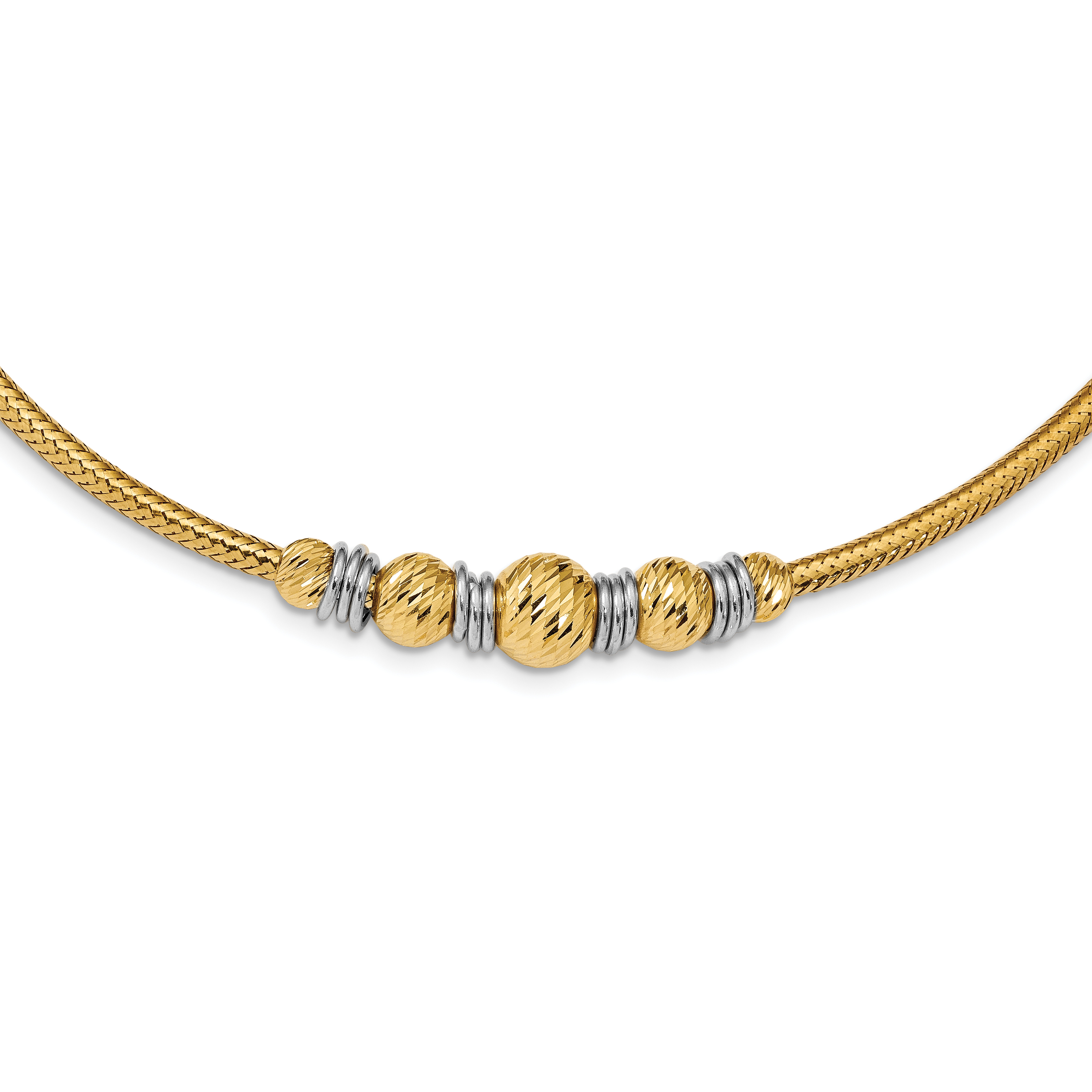 Leslie's 14K Two-tone Polished & Textured D/C w/1 in ext Necklace