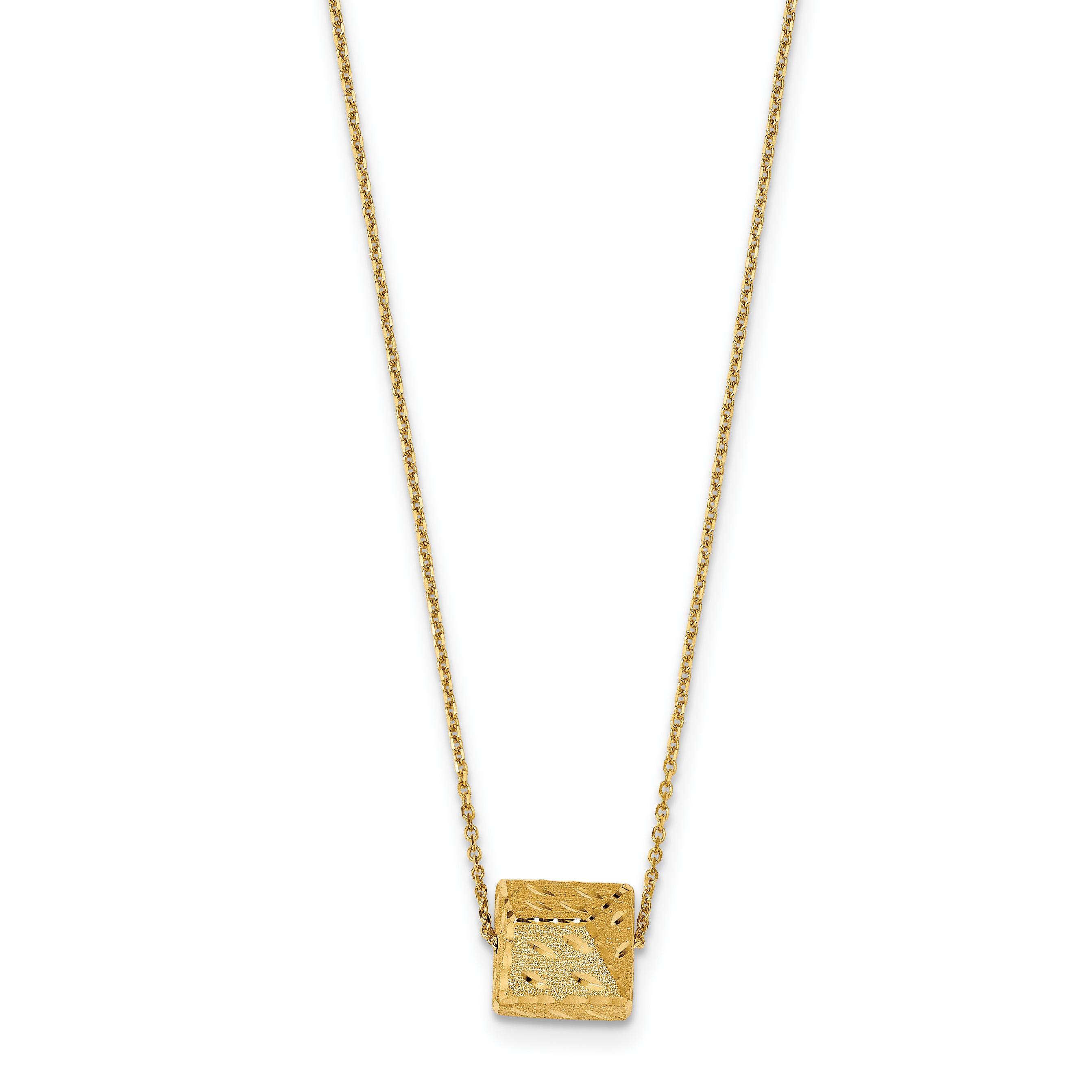 Leslie's 14K Polished & Brushed D/C w/1 in ext Necklace