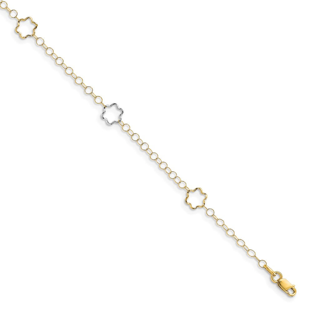 Leslie's 14K Two-tone Polished w/1in ext. AnkletLF1258-10