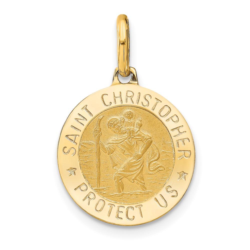 Leslie's 14k Polished and Satin Round St. Christopher PendantLF1348