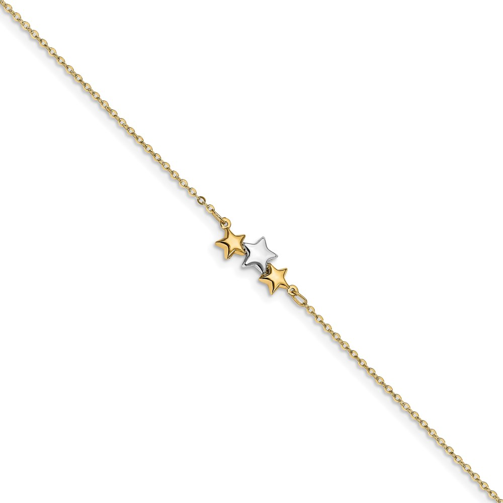 Leslie's 14K Two-tone Polished Star w/1in ext AnkletLF1438-9.5
