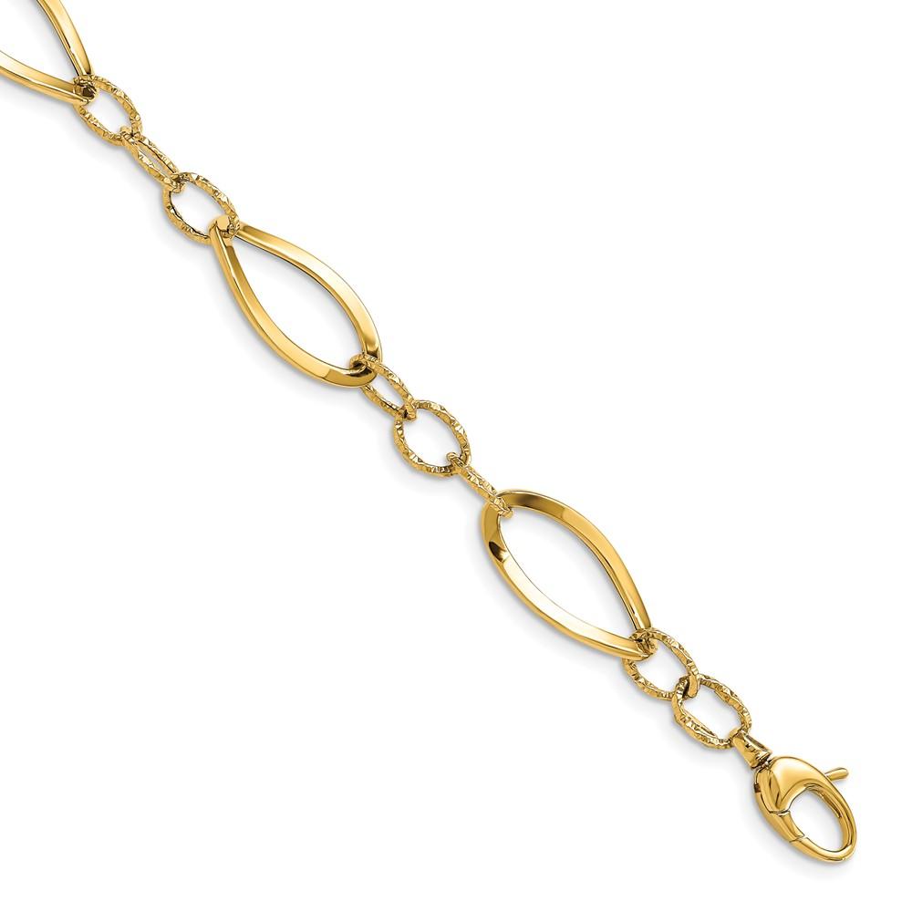 Leslie's 14K Polished D/C Fancy Link BraceletLF1458-7.75