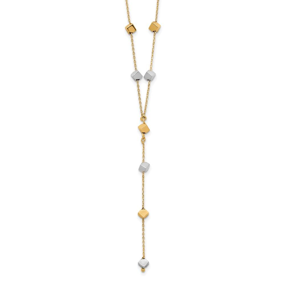 Leslie's 14K Two-Tone  Polished Adjustable Beaded Y-Drop NecklaceLF1465-17.5
