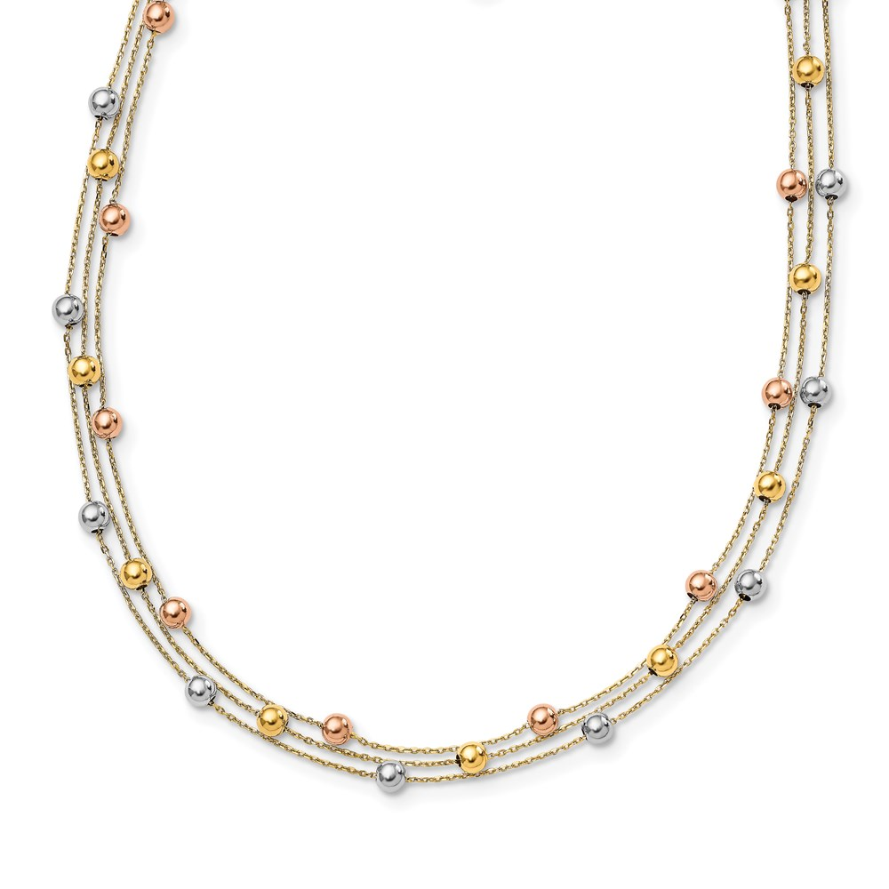 Leslie's 14K Tri-color Polished Beaded Multi-layered w/ 1.25 ext. NecklaceLF1466-16.5