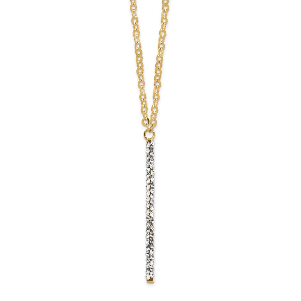 Leslie's 14K Polished Crystal By Swarovski w/1in ext NecklaceLF1494-16.5
