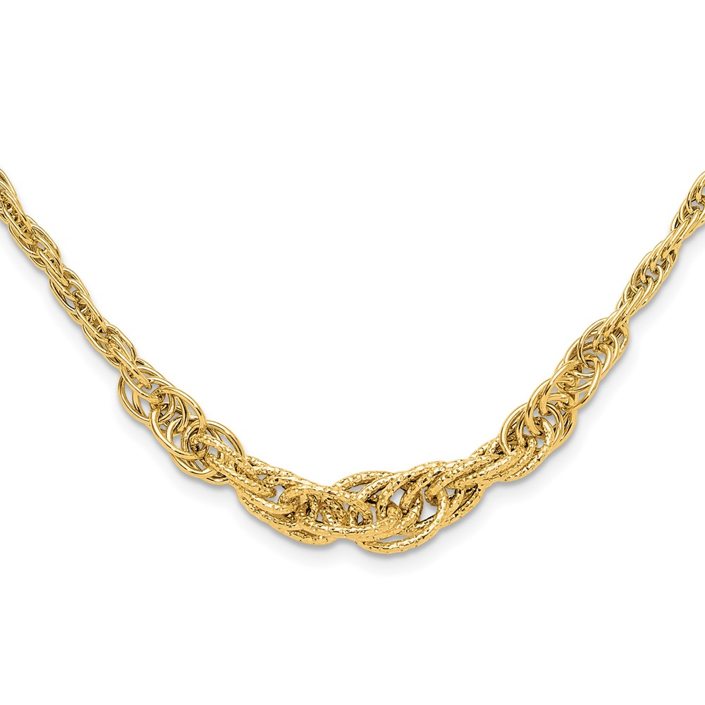 Leslie's 14K Polished Textured Fancy Link NecklaceLF1496-18