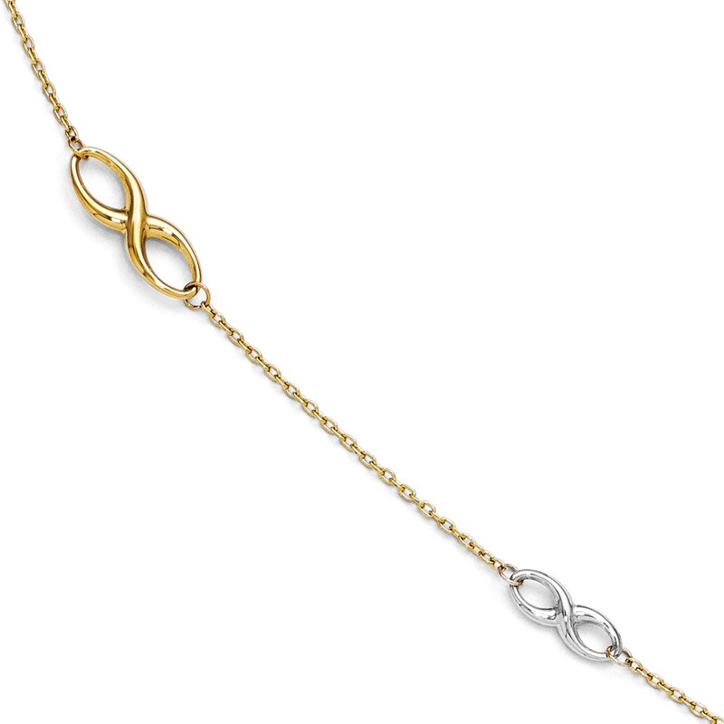 Leslie's 14k Two-tone Polished Anklet w/1in ext
