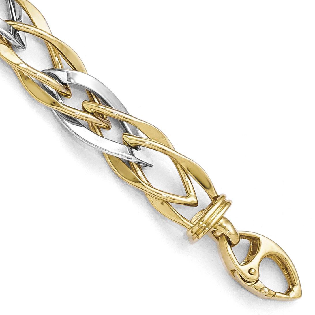 Leslie's 14K Two-tone Polished Fancy Link Bracelet LF275