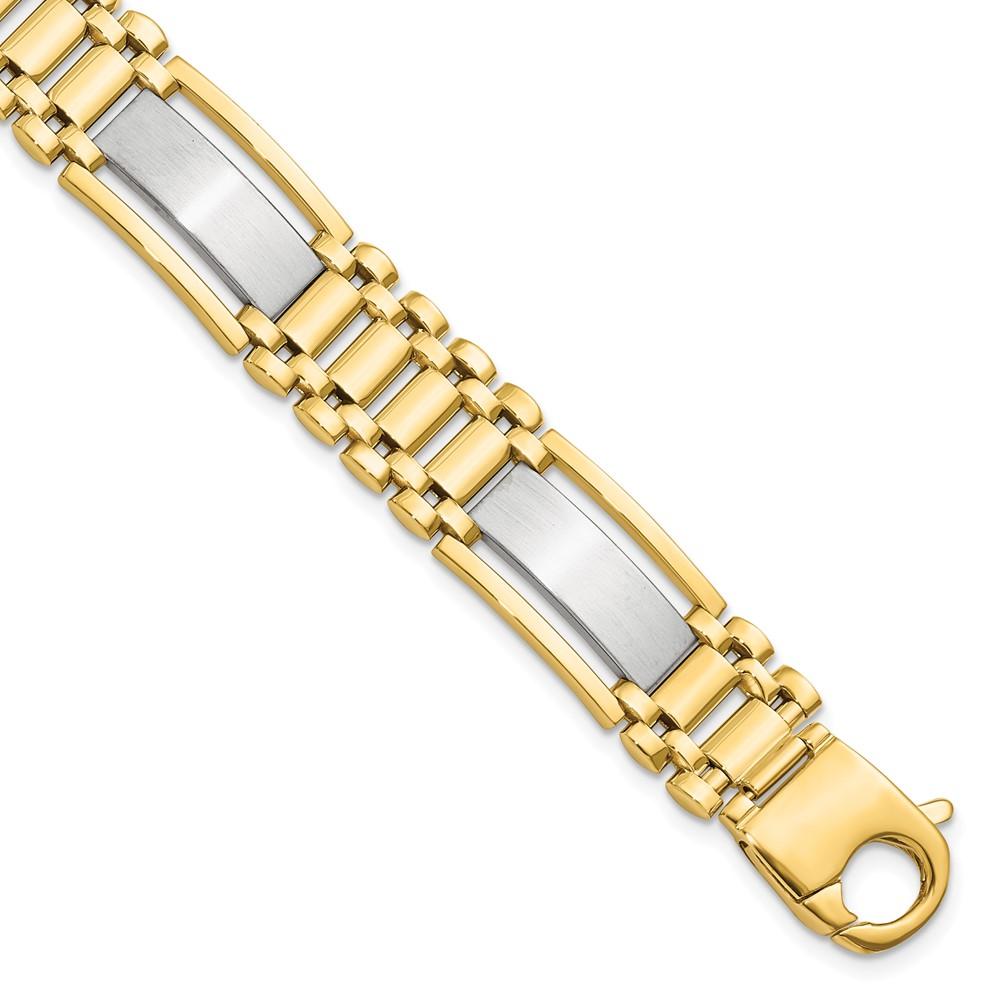 14k 14kt Two-tone  Polished and Satin Men's Bracelet 8.5 inch Lobster X 12.5 mm