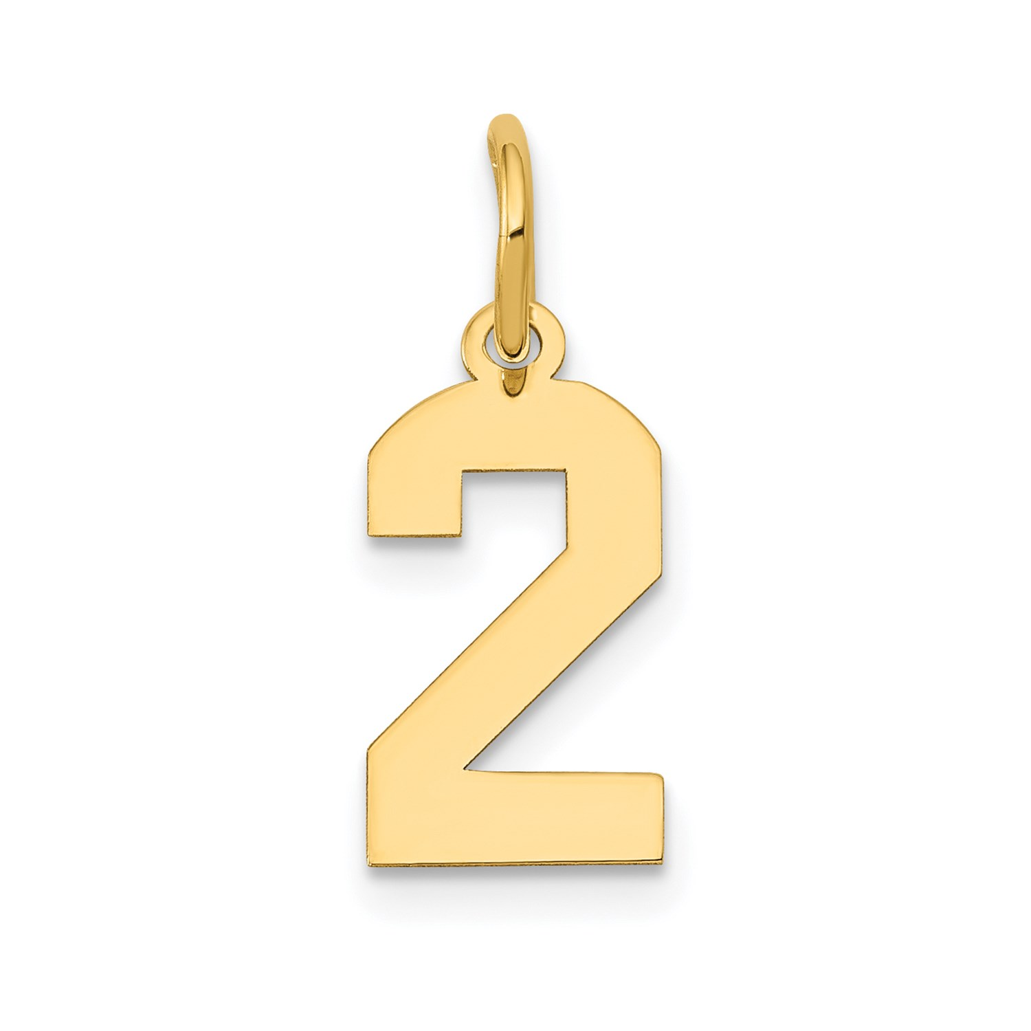 14k Yellow gold Small Polished Number 2 Charm Pendant. (0.7IN long)