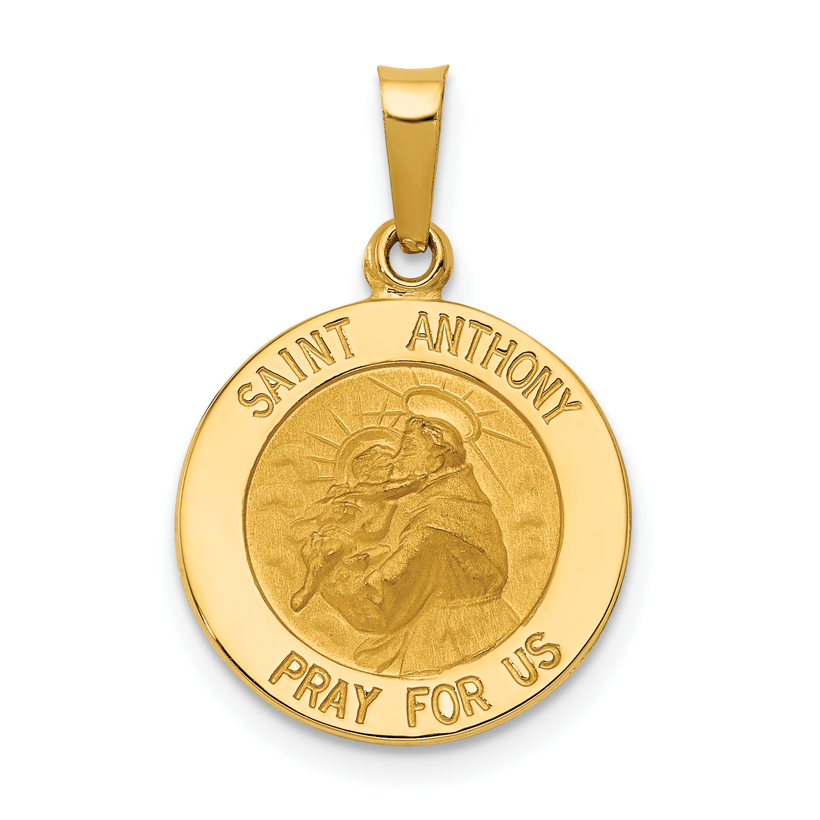 925 Sterling Silver Rhodium-plated /& Gold-tone Saint Anthony Medal Charm Pendant