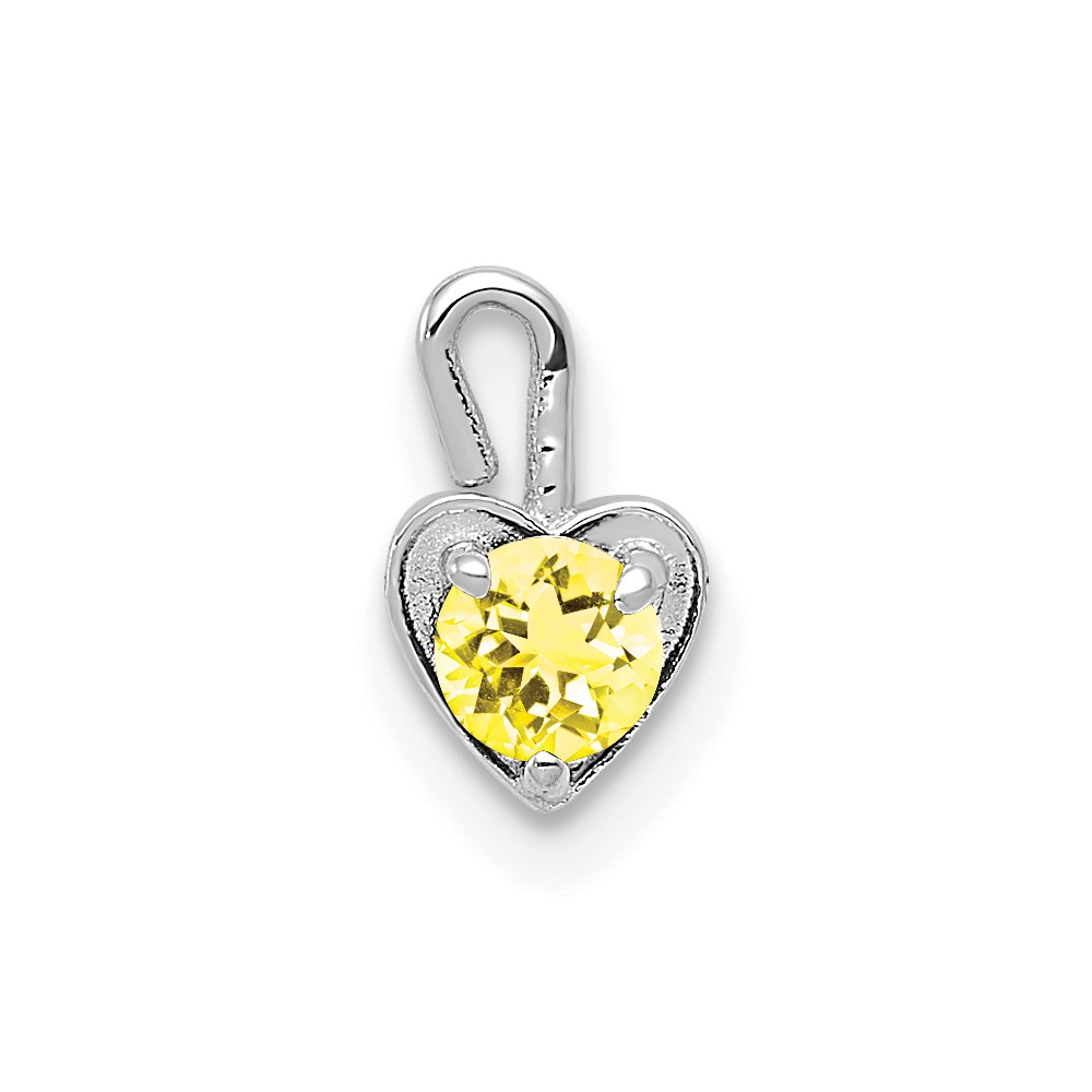 14k 14kt White Solid gold  November Synthetic Birthstone Heart Charm