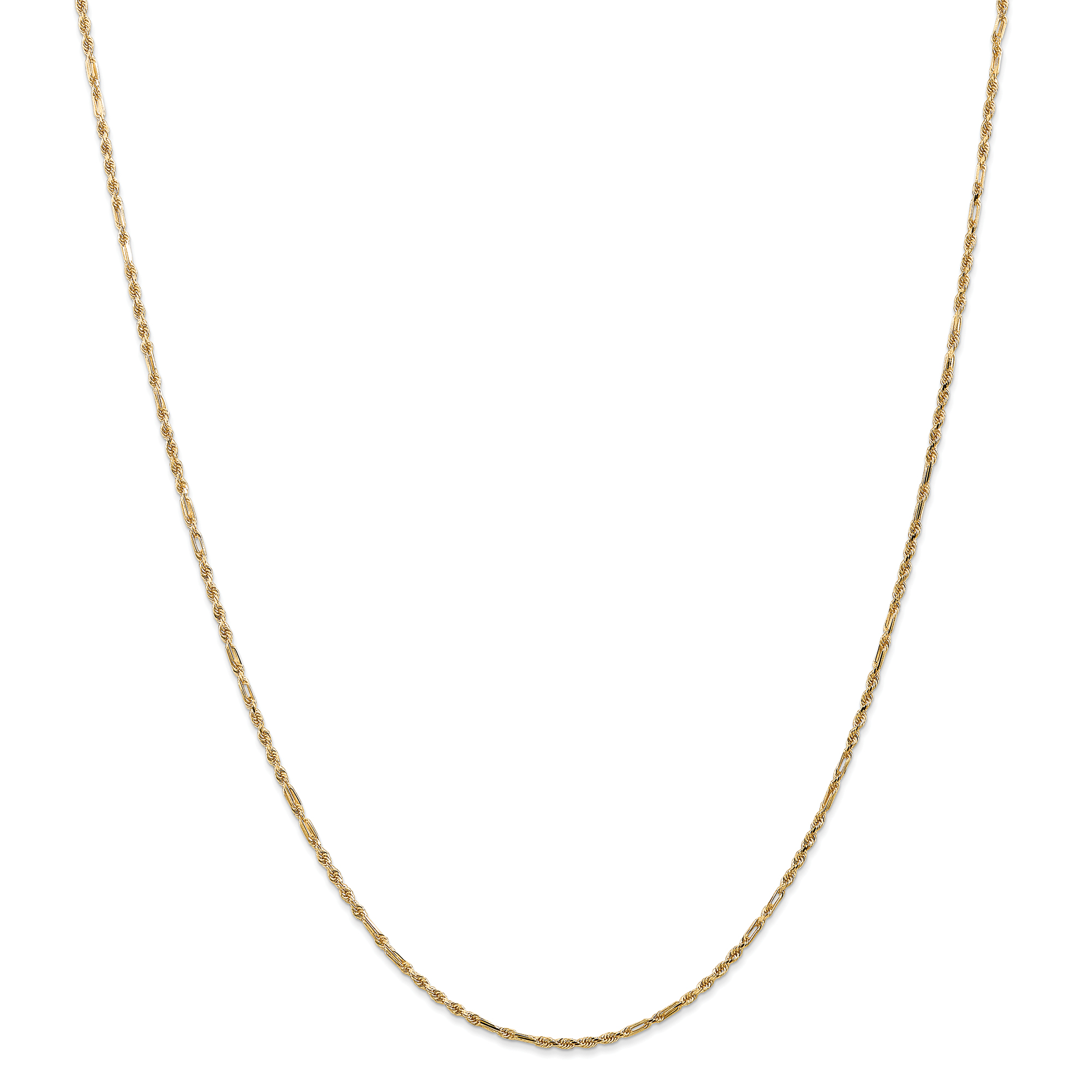 14k 1.25mm Milano Rope Chain. Weight: 3.48,  Length: 18