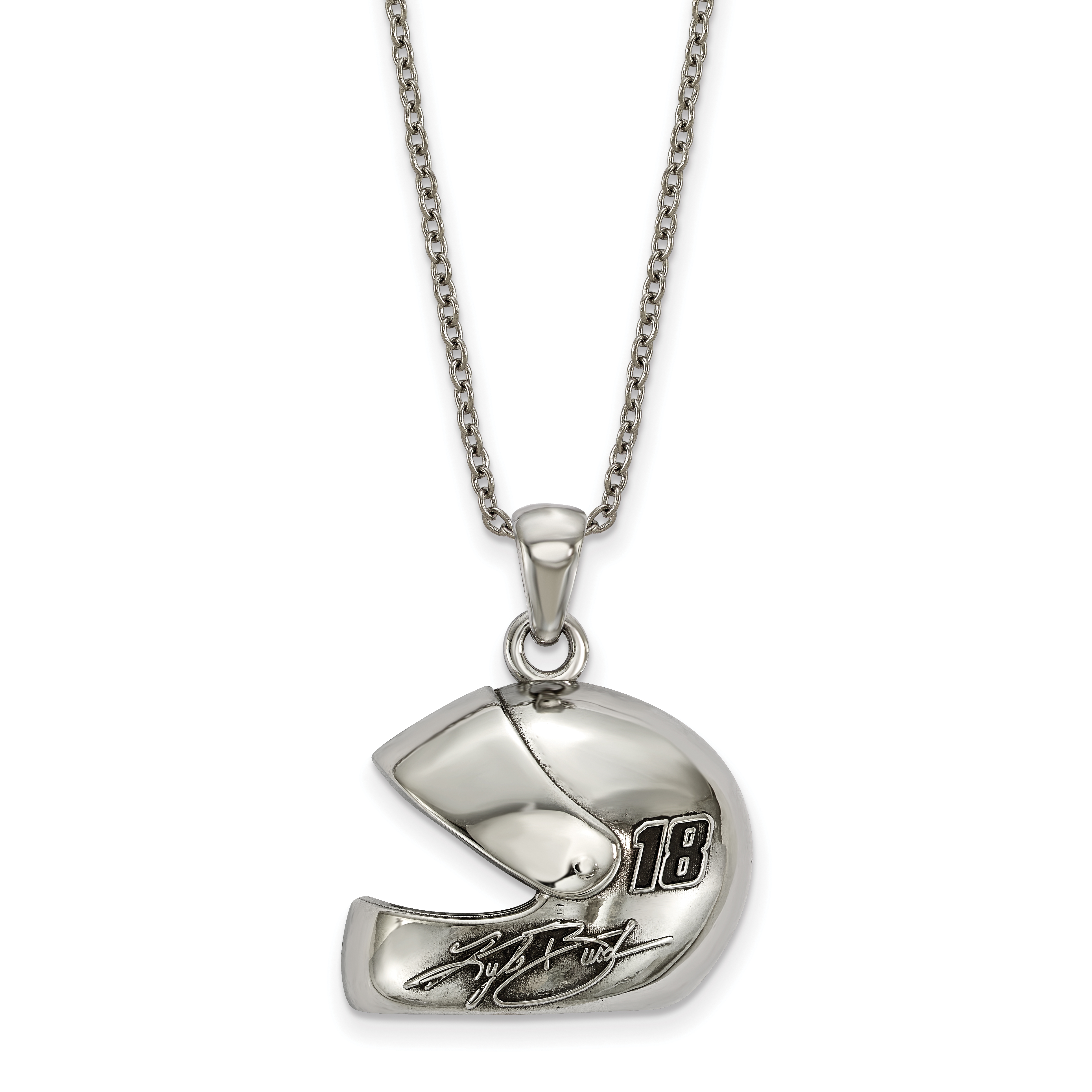 NASCAR 18 Kyle Busch STAINLESS HEART KEY 1 with DRIVER #18 EARRINGS