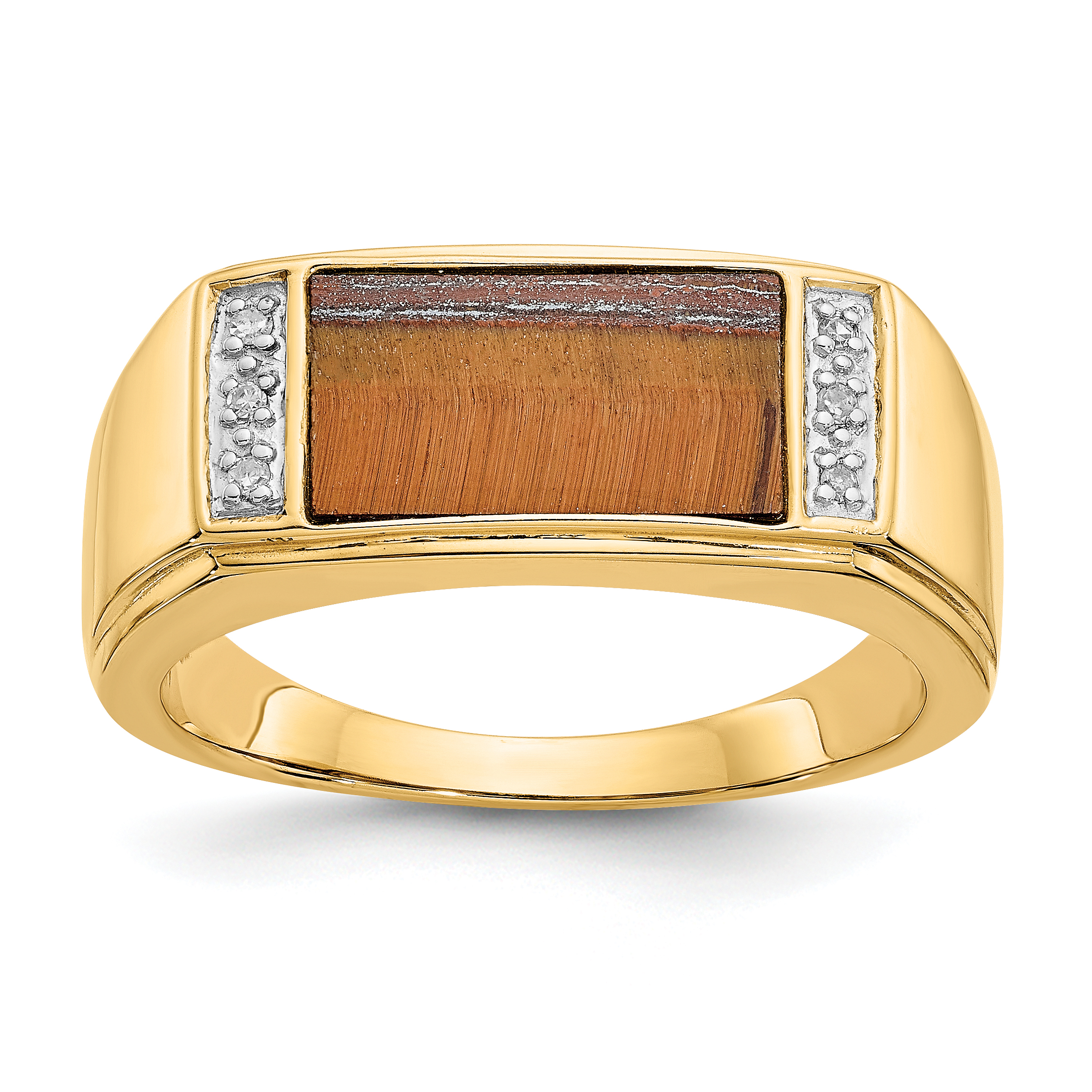 14k yellow gold tigers eye a diamond mens band ring size. Black Bedroom Furniture Sets. Home Design Ideas