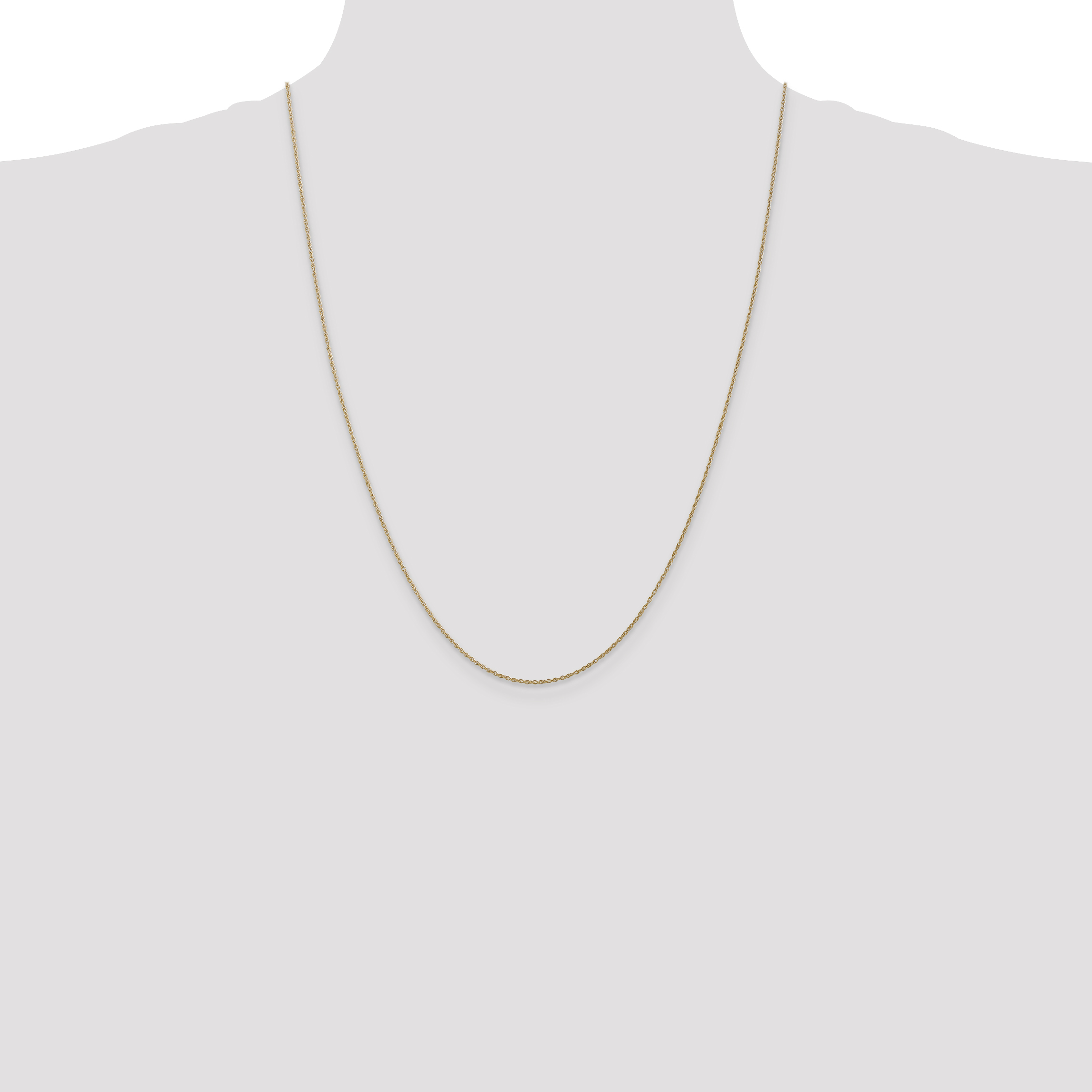 """14k Yellow Gold .8mm Light-Baby Rope Chain Necklace 7/"""" 30/"""""""