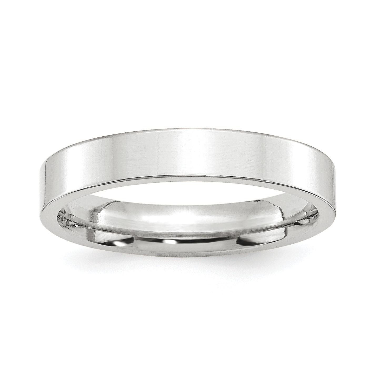 Platinum 4mm Wedding Band: Platinum 4mm Flat Size 9 Wedding Ring Band Classic Comfort
