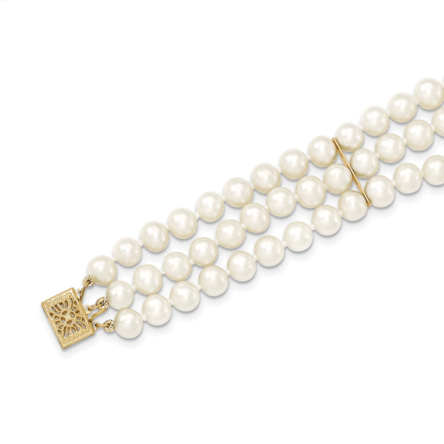 14k Yellow Gold 7 5in 6 5mm 3 Strand Cultured Pearl Bracelet