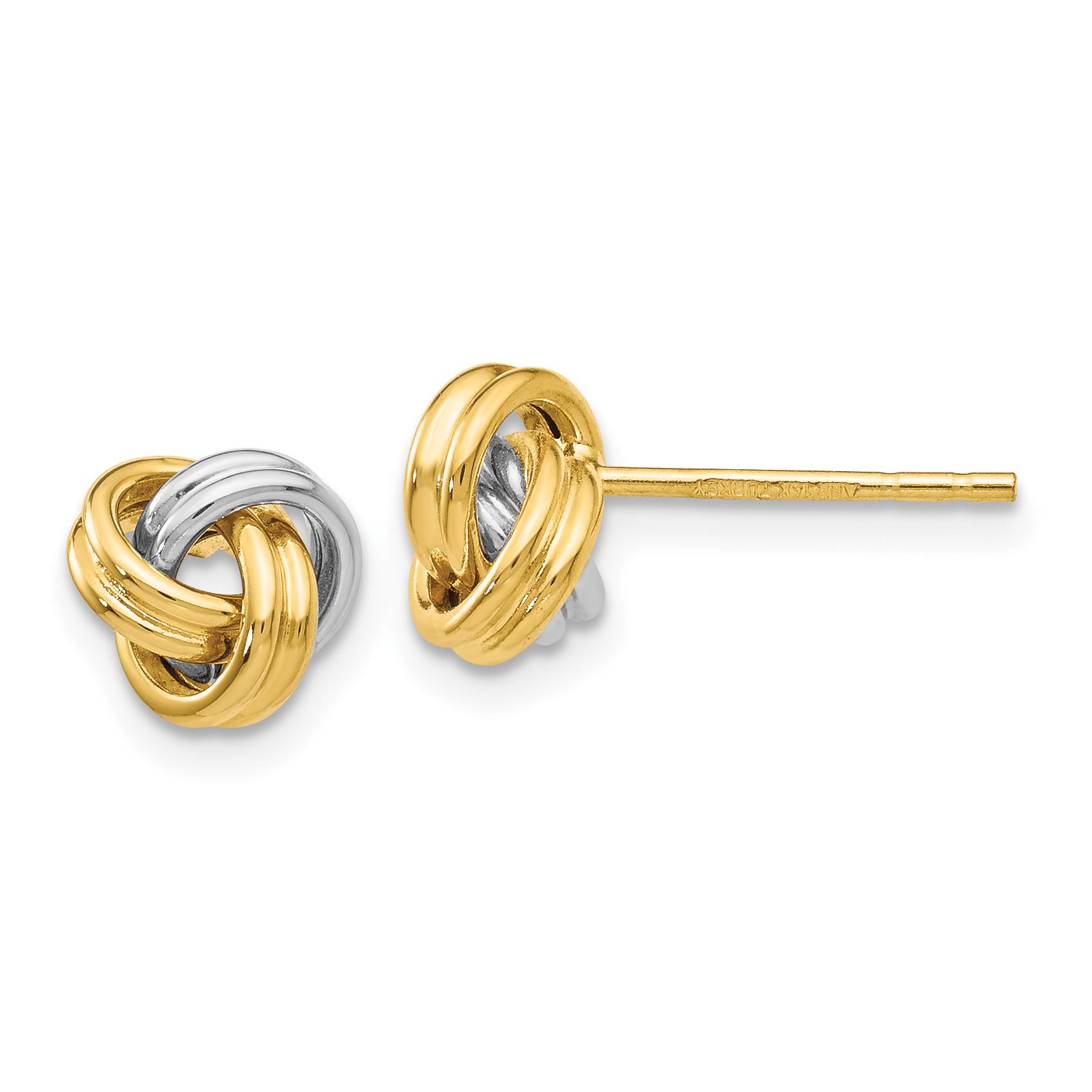 Italian Love Knot Rosetta Stud Earrings with Push Back Post Real 14K Yellow Gold