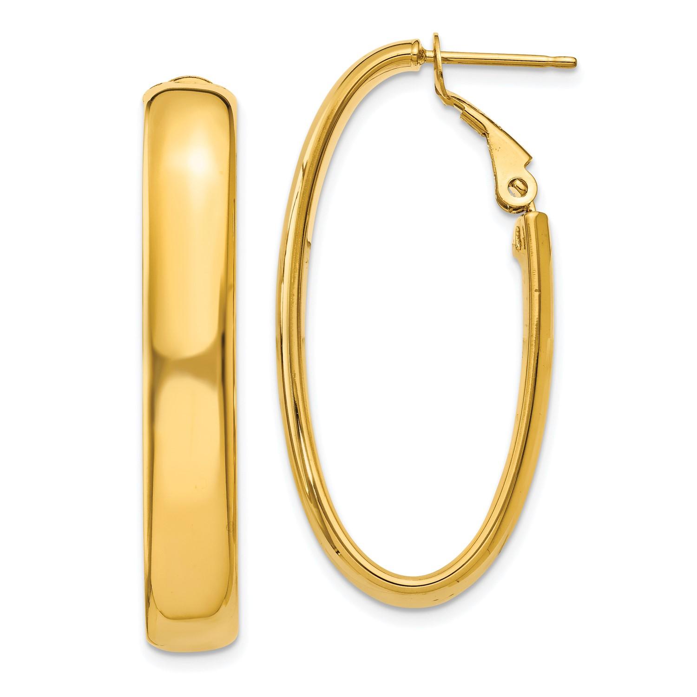 39f905cf7 14k Yellow Gold 0.5IN Long 5.75mm Oval Omega Back Hoop Earrings | eBay