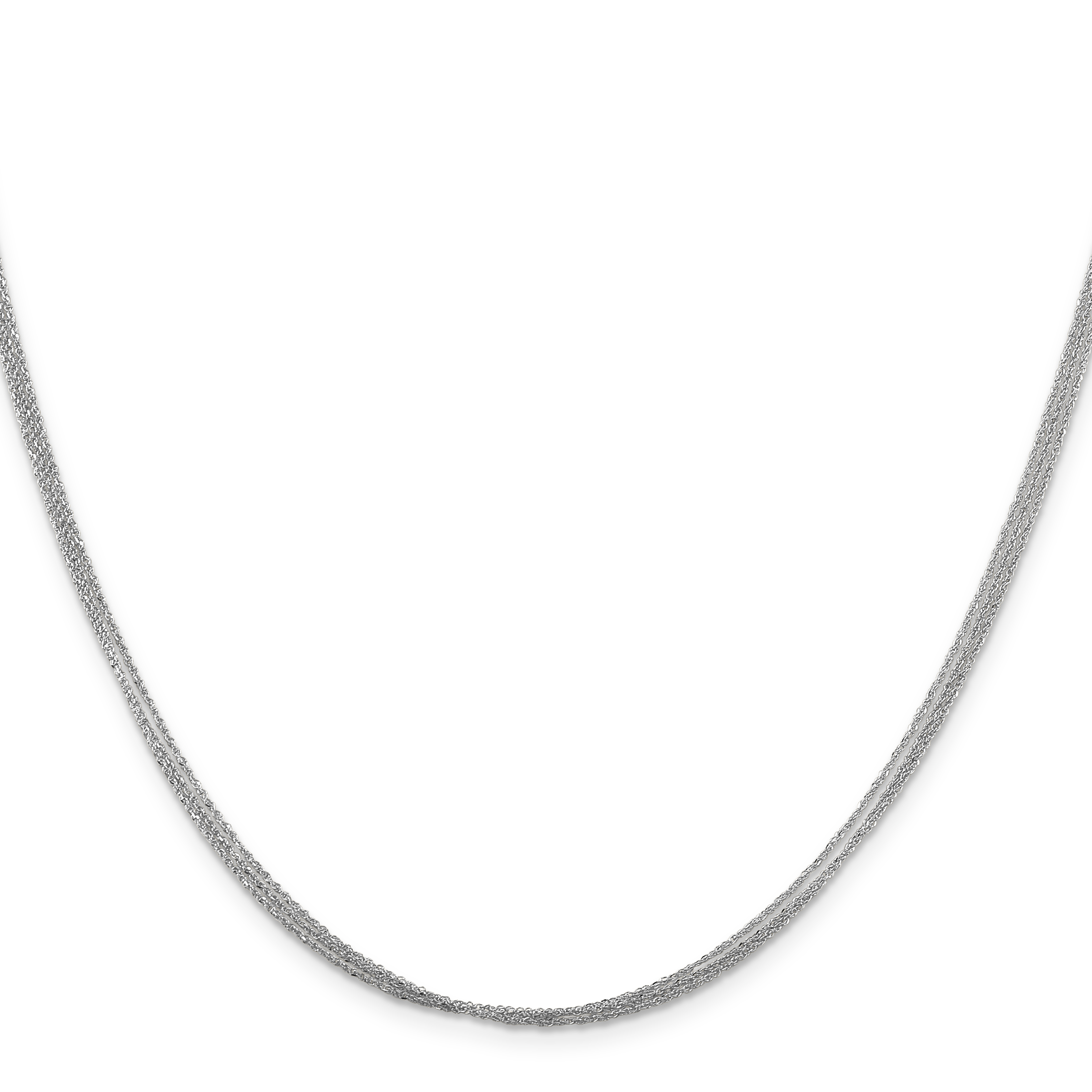 14k White Gold .75 mm Triple Strand Ropa Chain. Weight: 2.29,  Length: 16