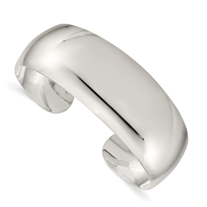 96e97e75a Sterling Silver 7in Solid Polished Plain Cuff Bracelet Bangle | eBay