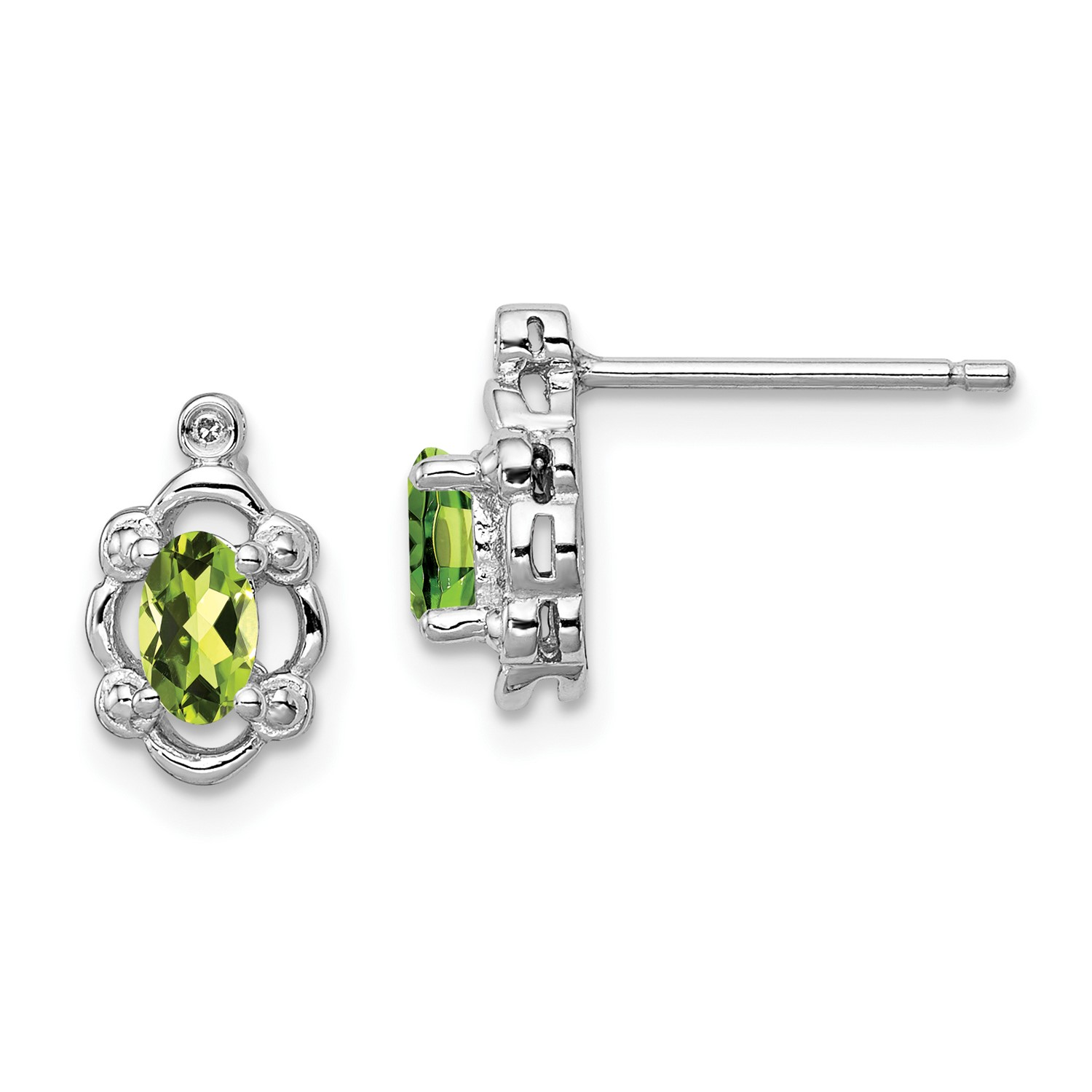 65af495d7 Sterling Silver Peridot & Diamond Earrings. Gem Wt- 0.49ct (10MM x ...