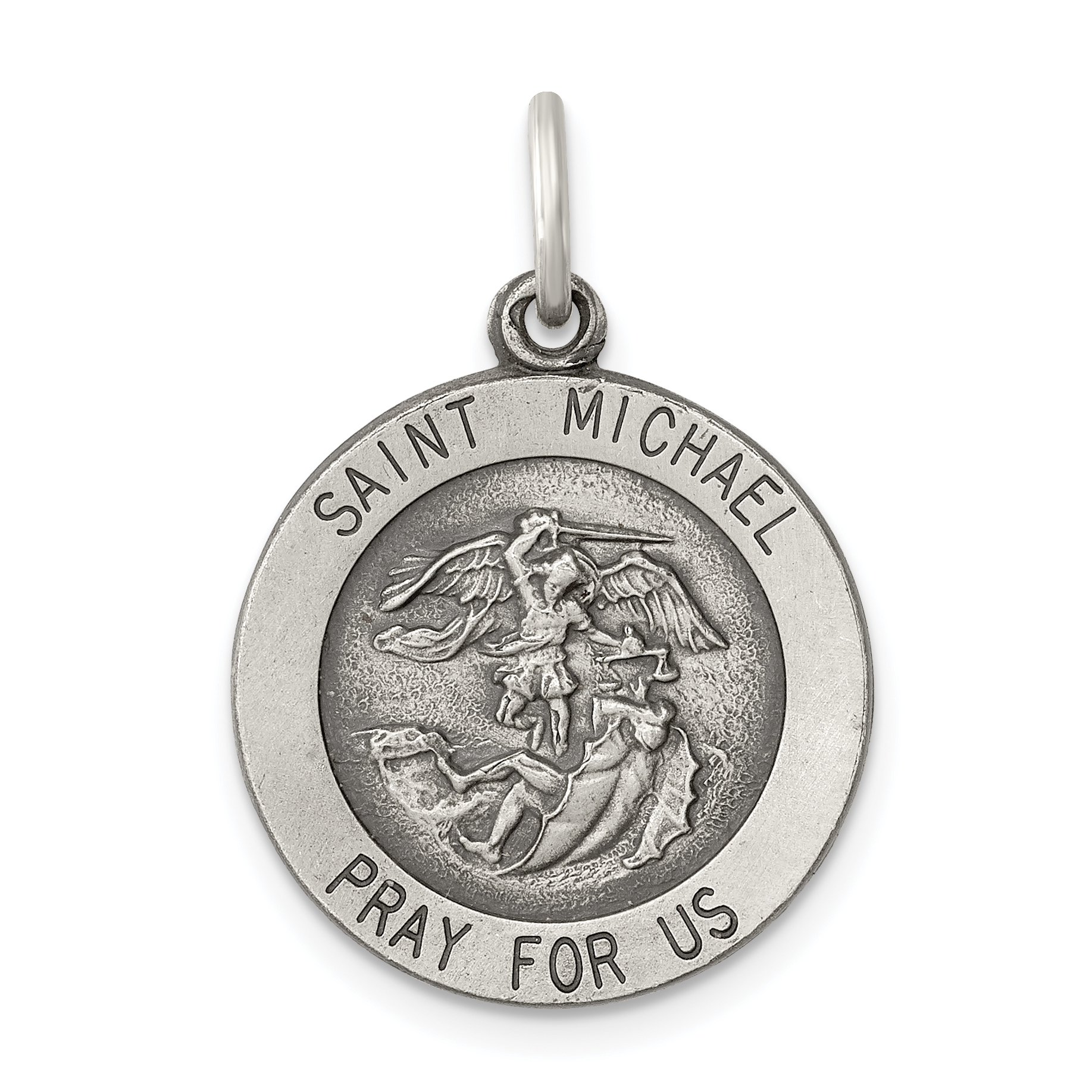 Sterling Silver Themed Jewelry Pendants /& Charms Solid 19 mm 28 mm Satin Antiqued Saint Anne Medal Pendant