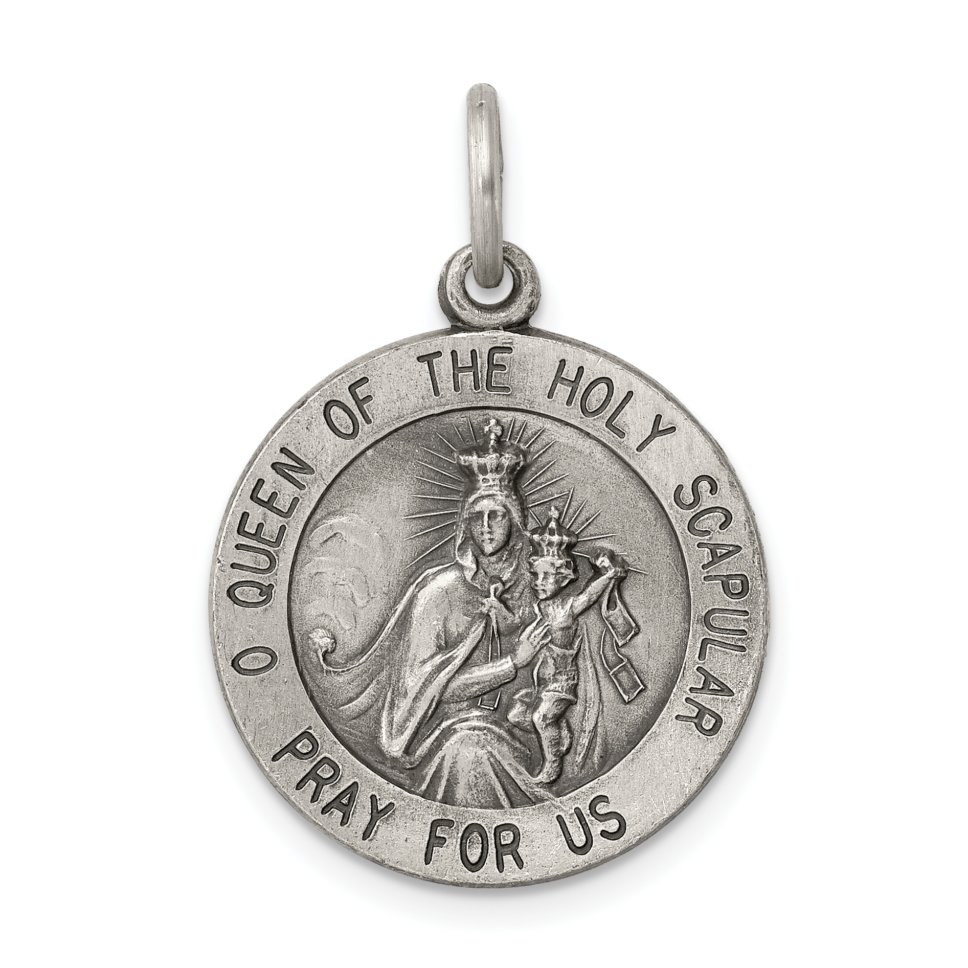 Sterling Silver Themed Jewelry Pendants /& Charms Solid 22 mm 32 mm Queen of the Holy Scapular Medal