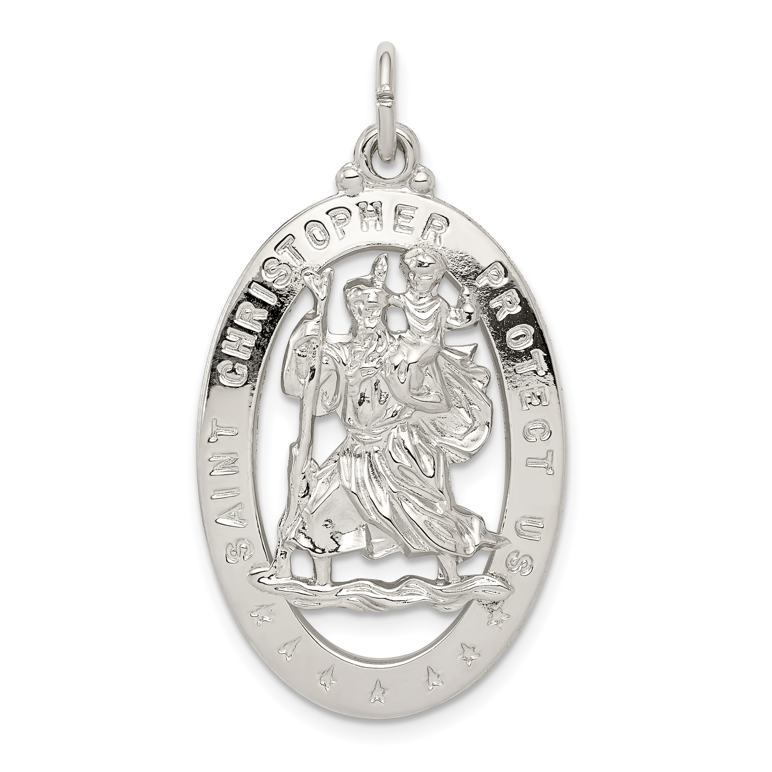 product protect medal us christopher rosary steel medallion saint catholic stainless gold religious metal detail transparent