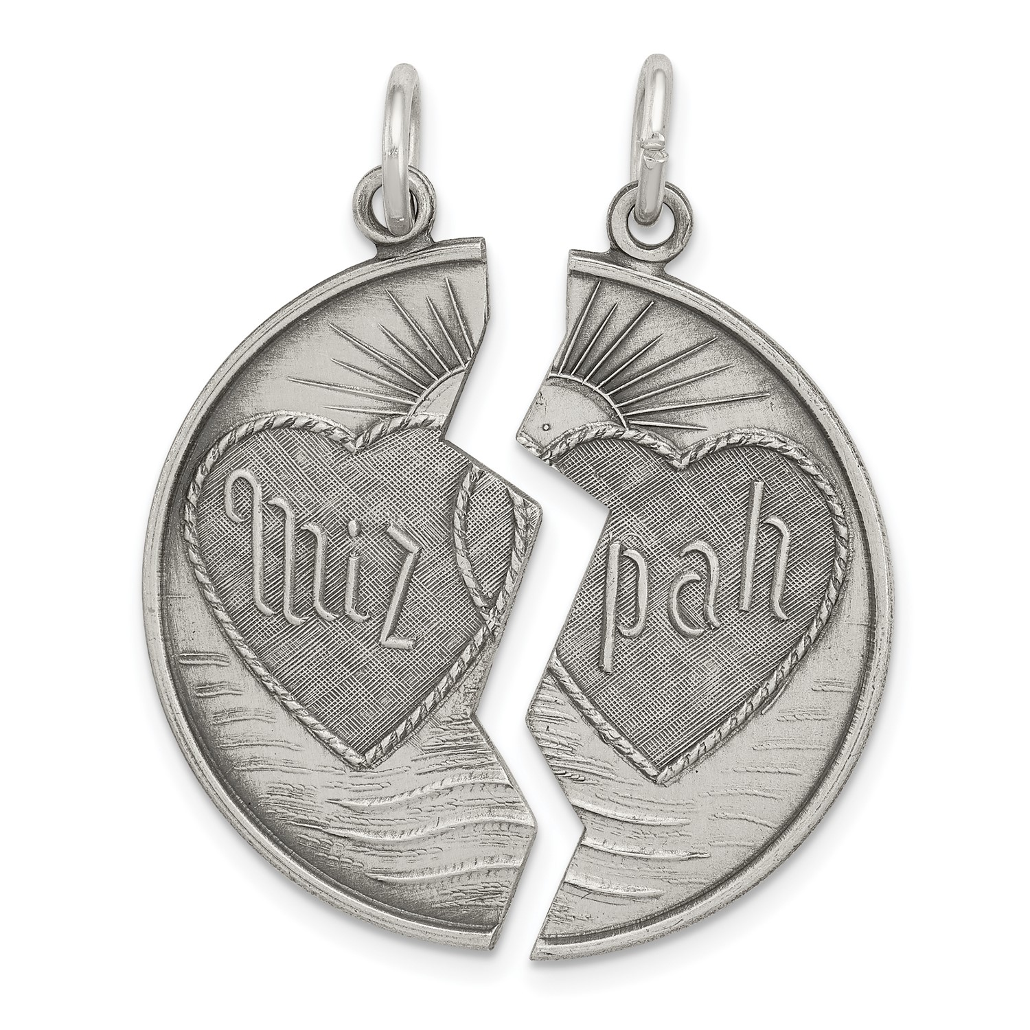 eaa64a70c42 Sterling Silver Antiqued Mizpah Charm (1.2in x 0.6in)