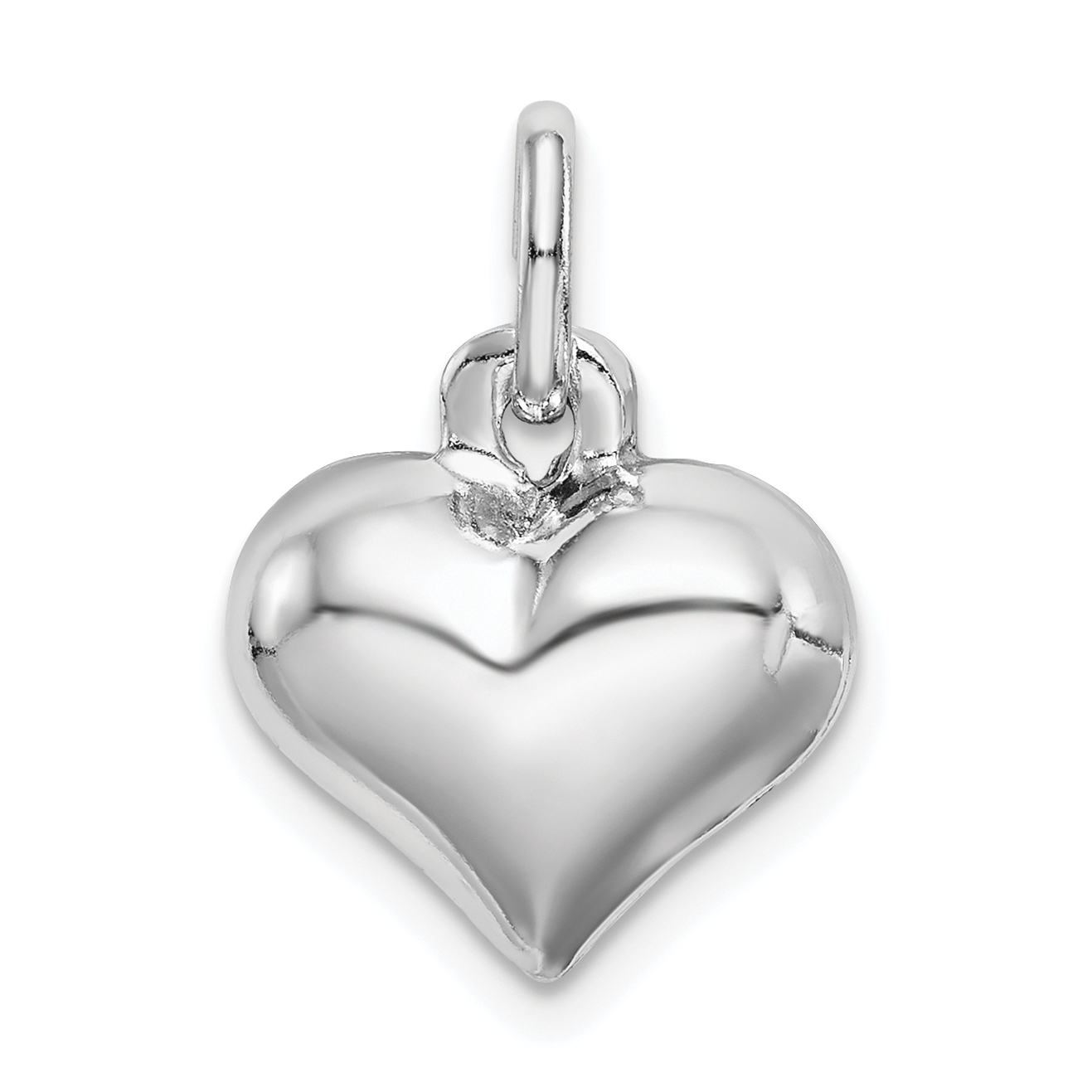 Sterling silver rhodium plated puffed heart charm weight 135 sterling silver rhodium plated puffed heart charm weight 135 grams length 14mm width 13mm aloadofball Images