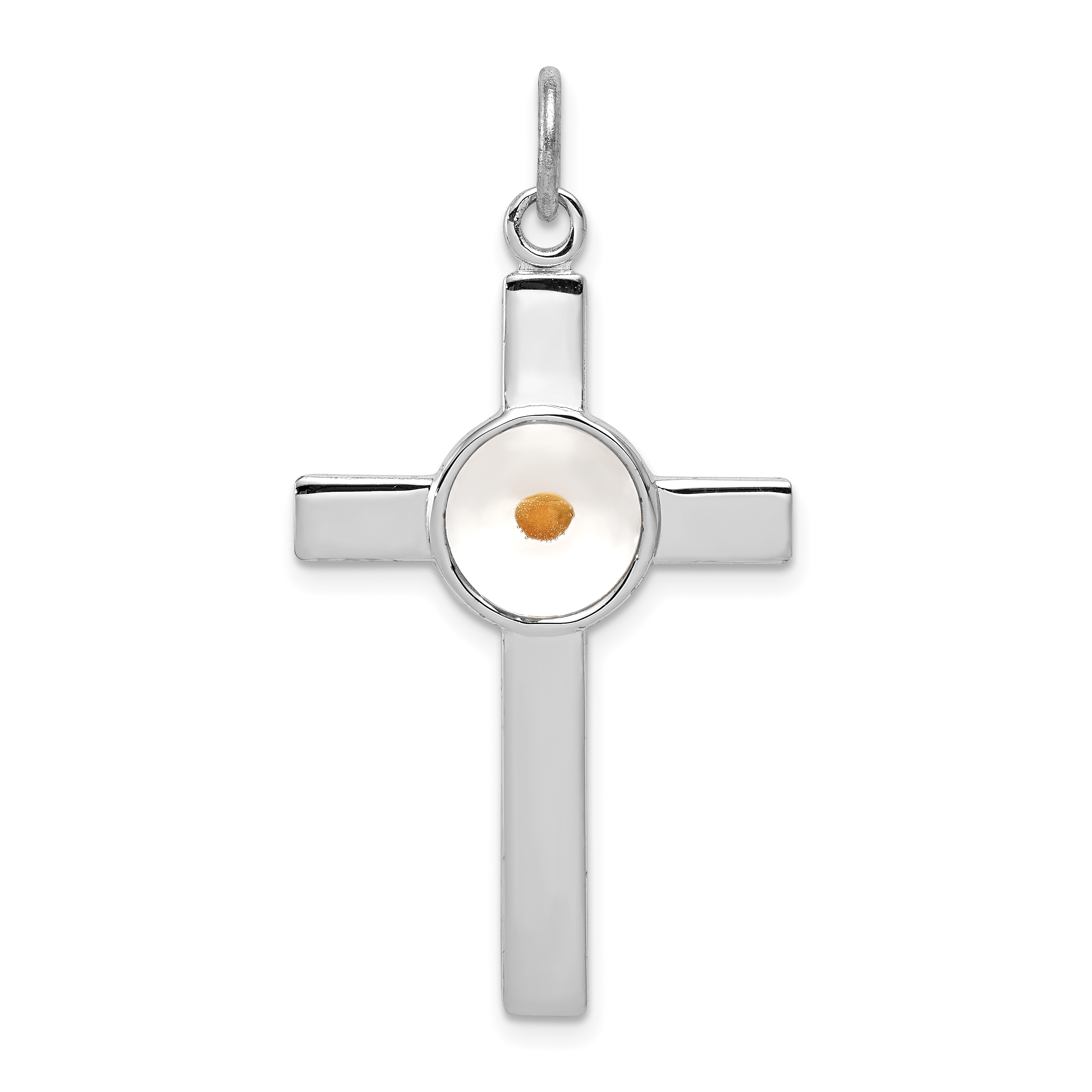 Sterling silver rhodium plated polshd epxy cross wmustard seed sterling silver rhodium plated polshd epxy cross wmustard seed pendant weight 123 grams length 36mm width 21mm aloadofball Choice Image