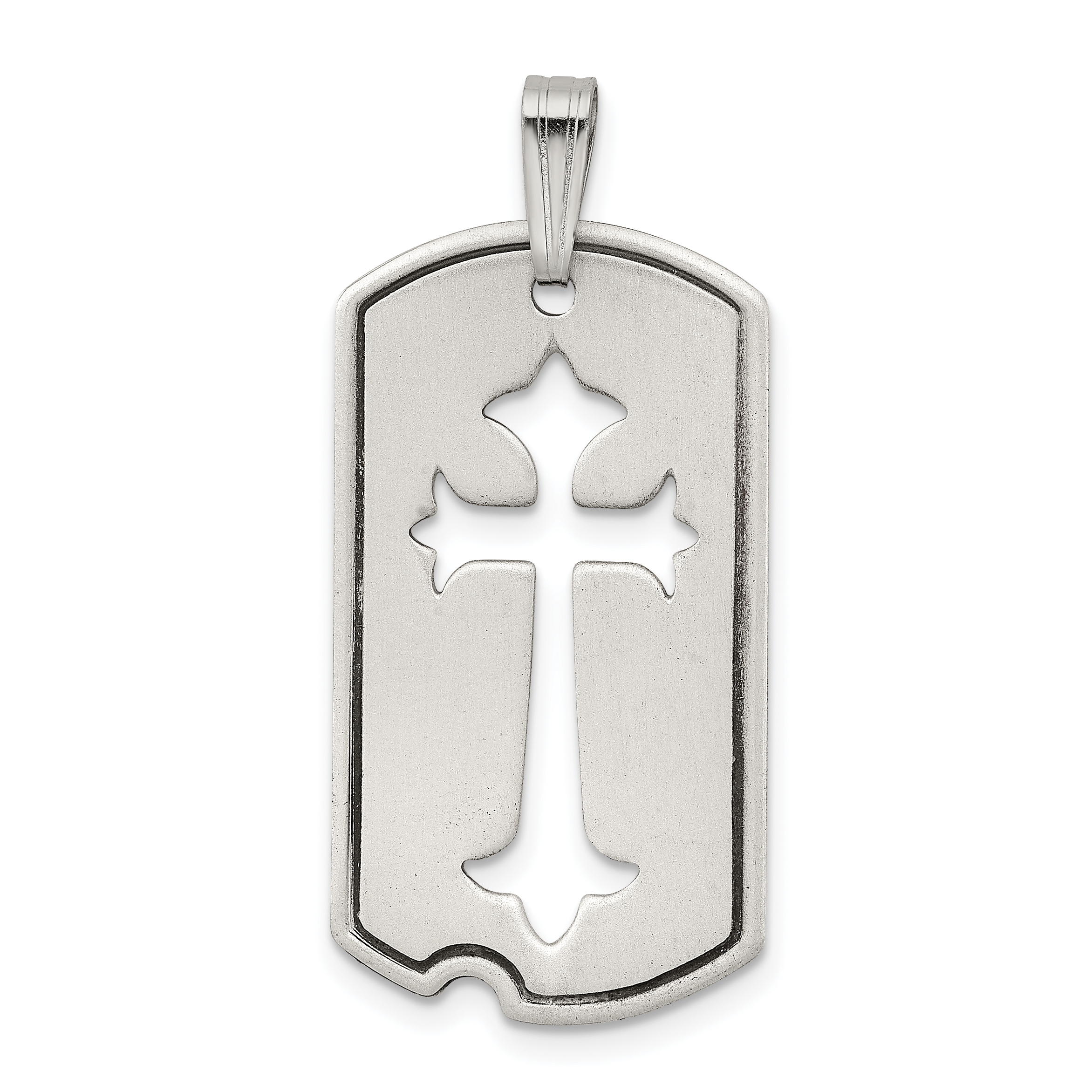 Sterling silver satin antiqued dog tag with cut out cross pendant sterling silver satin antiqued dog tag with cut out cross pendant weight 336 grams length 38mm width 16mm aloadofball