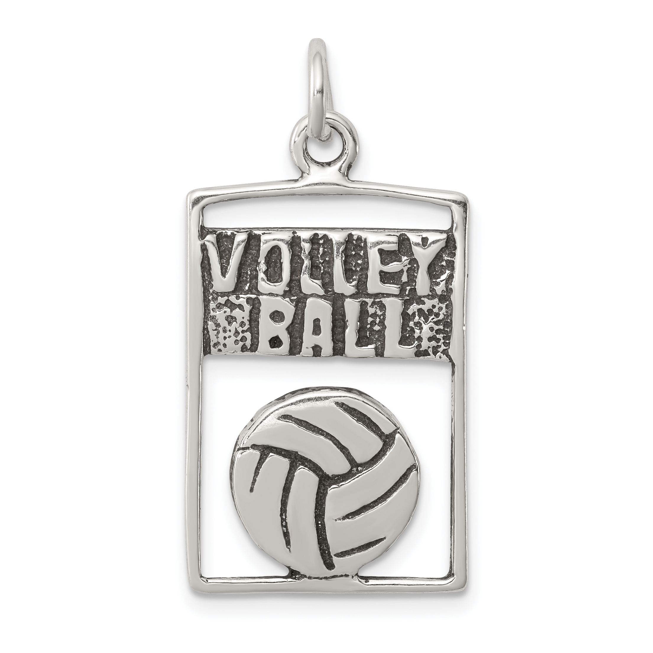 17mm Silver Yellow Plated 3-D Volleyball Charm