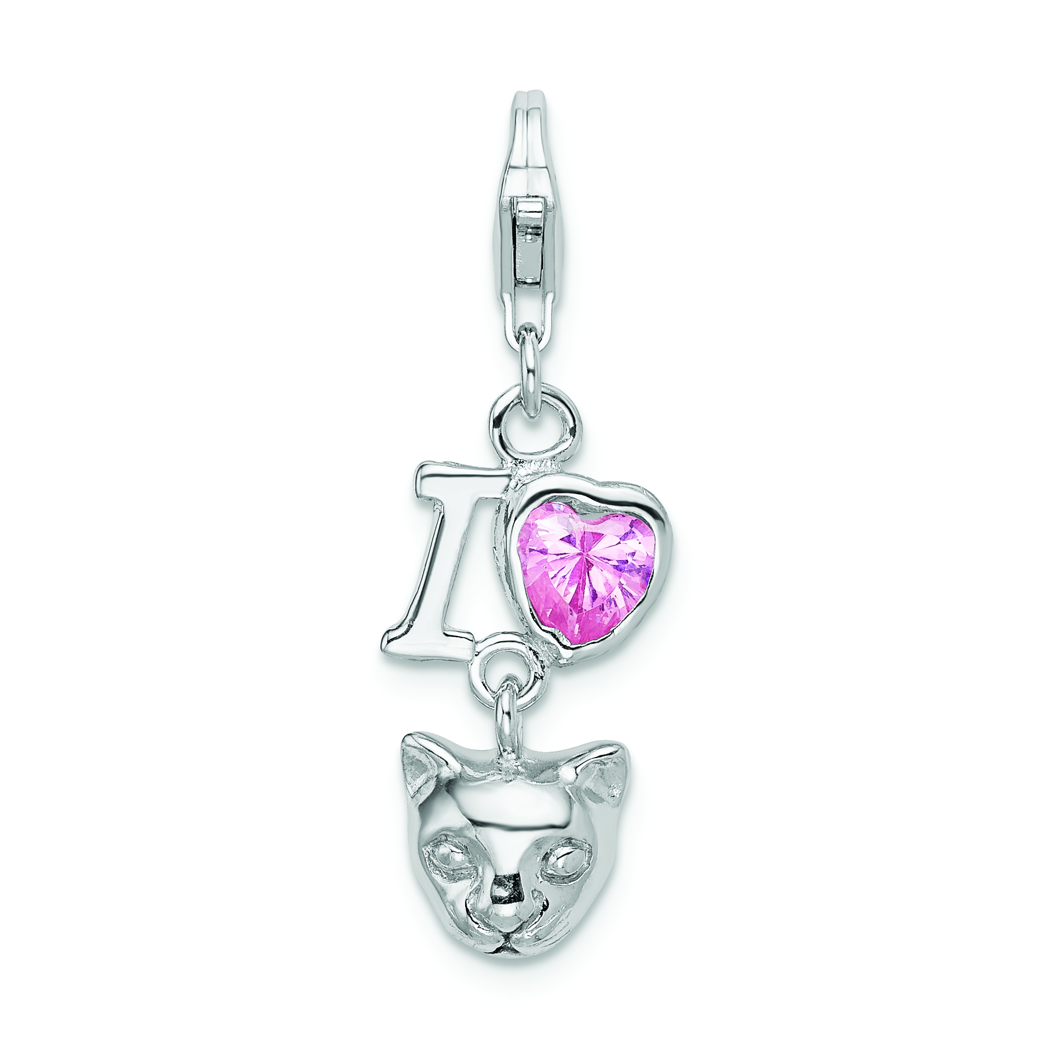 Sterling Silver CZ I Love Cats w//Lobster Clasp Charm