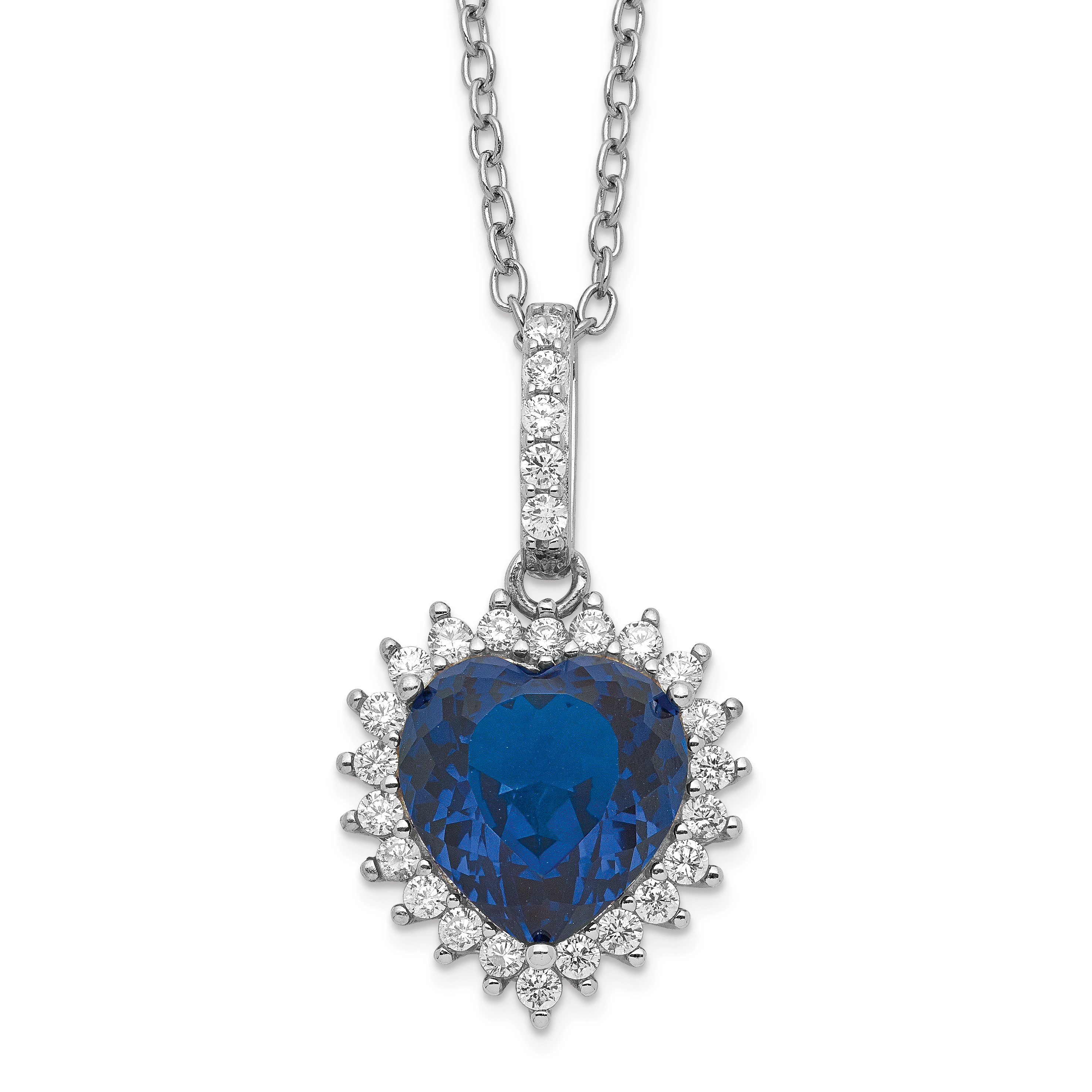 Jewelry Necklaces CZ Cheryl M SS CZ and Lab Created Blue Spinel Necklace