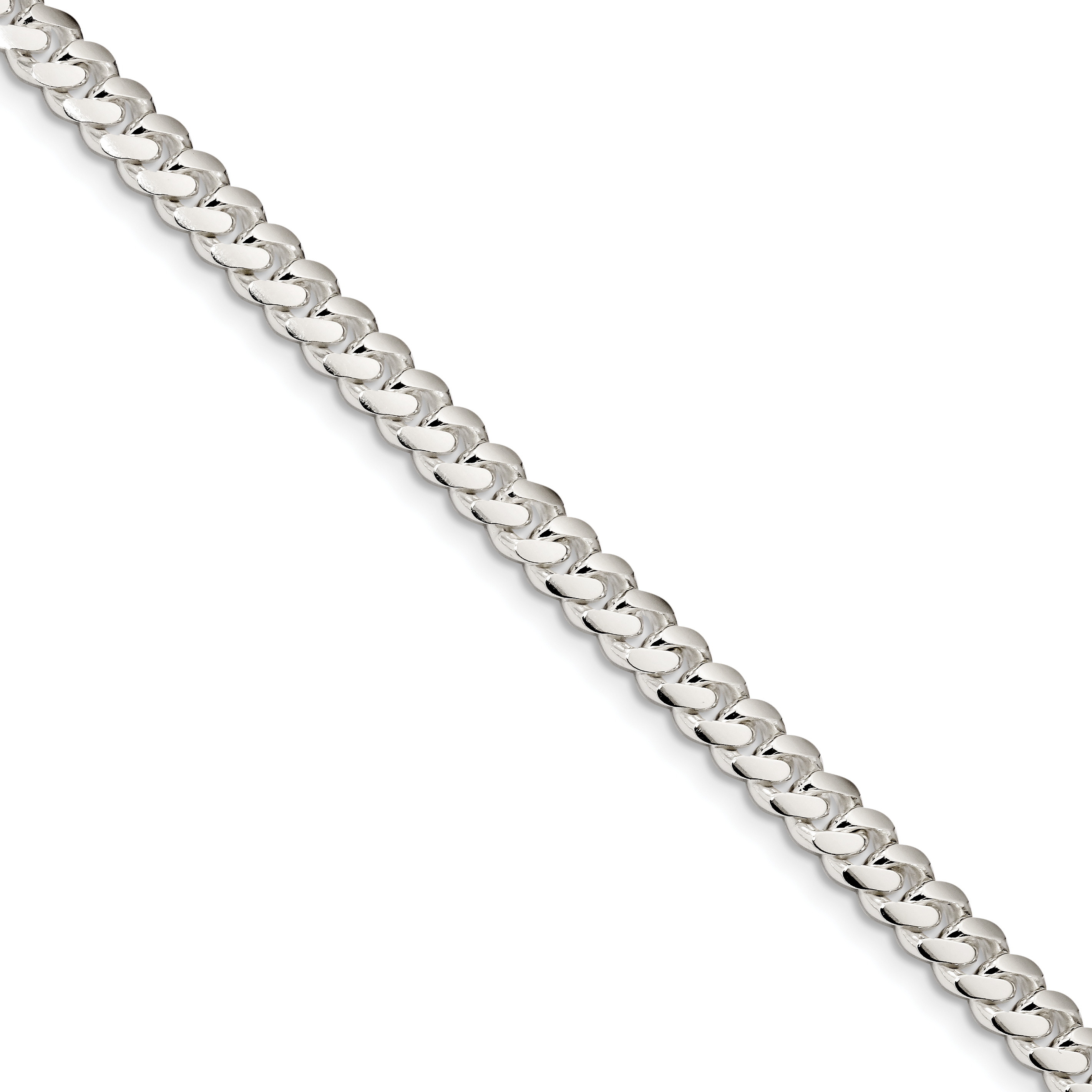 Sterling Silver 6.4mm Polished Domed Curb Chain | Weight: 17.02 grams, Length: 7mm, Width: 6.4mm