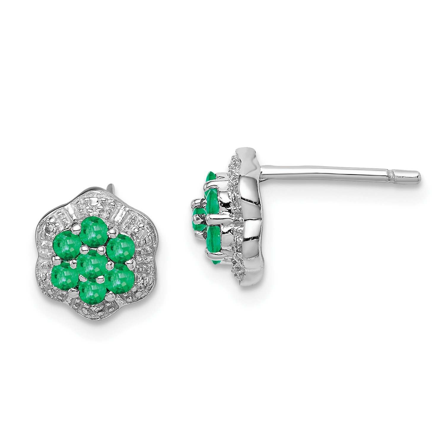 Image Is Loading Sterling Silver Rhodium Emerald Amp Diamond Post Earrings