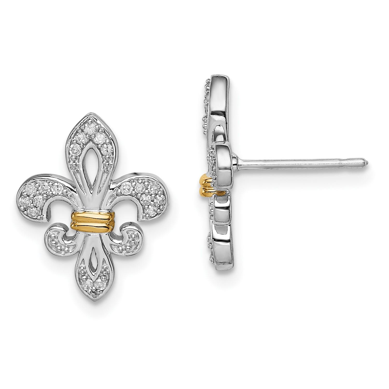 0bdb47438 Sterling Silver 14k Yellow Gold Diamonds Fleur de Lis Post Earrings ...