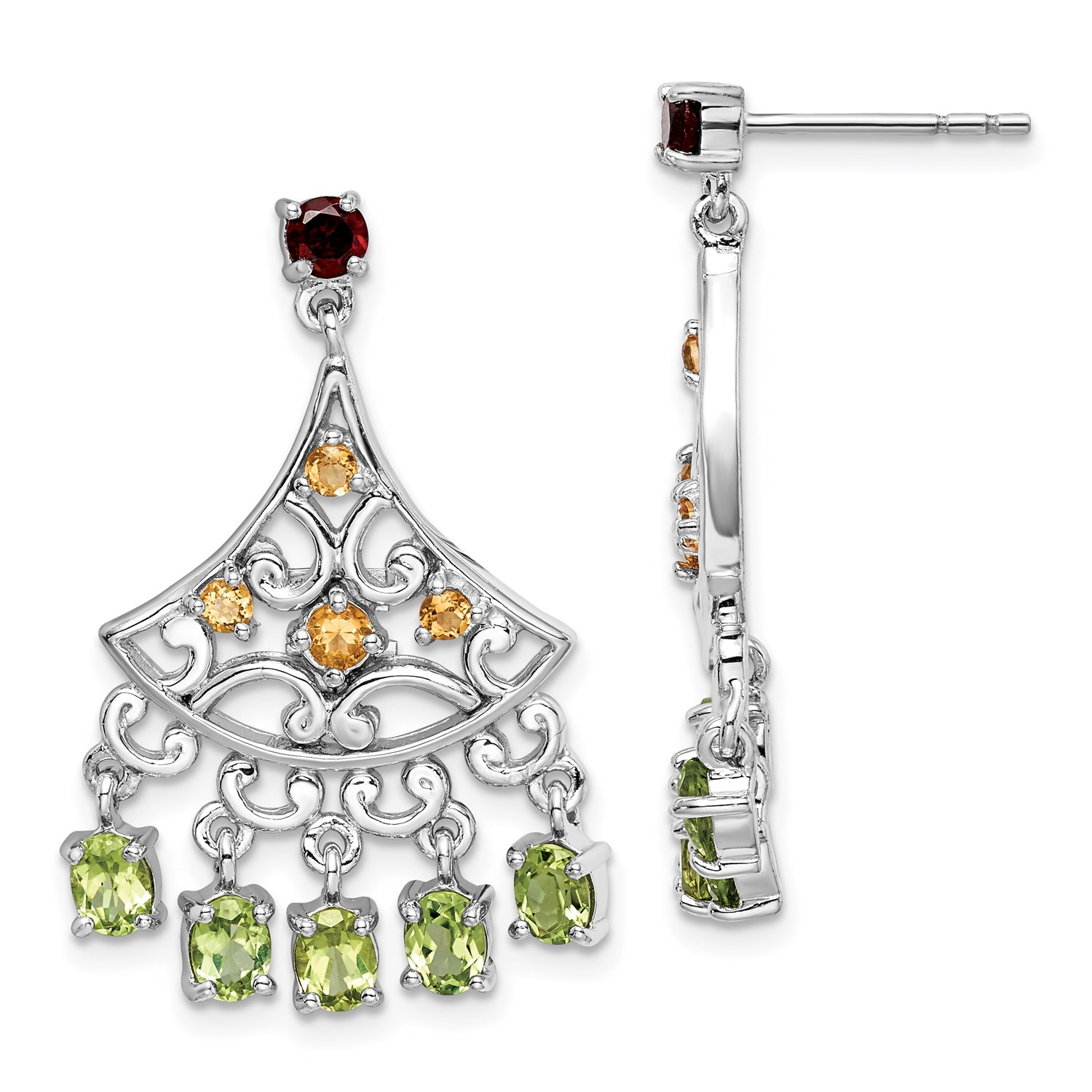 Image Is Loading Sterling Silver Garnet Citrine Amp Peridot Dangle Earrings