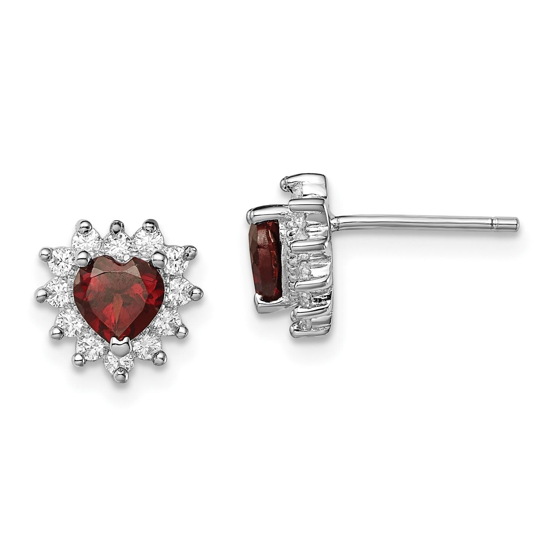 Image Is Loading Sterling Silver Garnet Amp Cz Heart Earrings 9mm