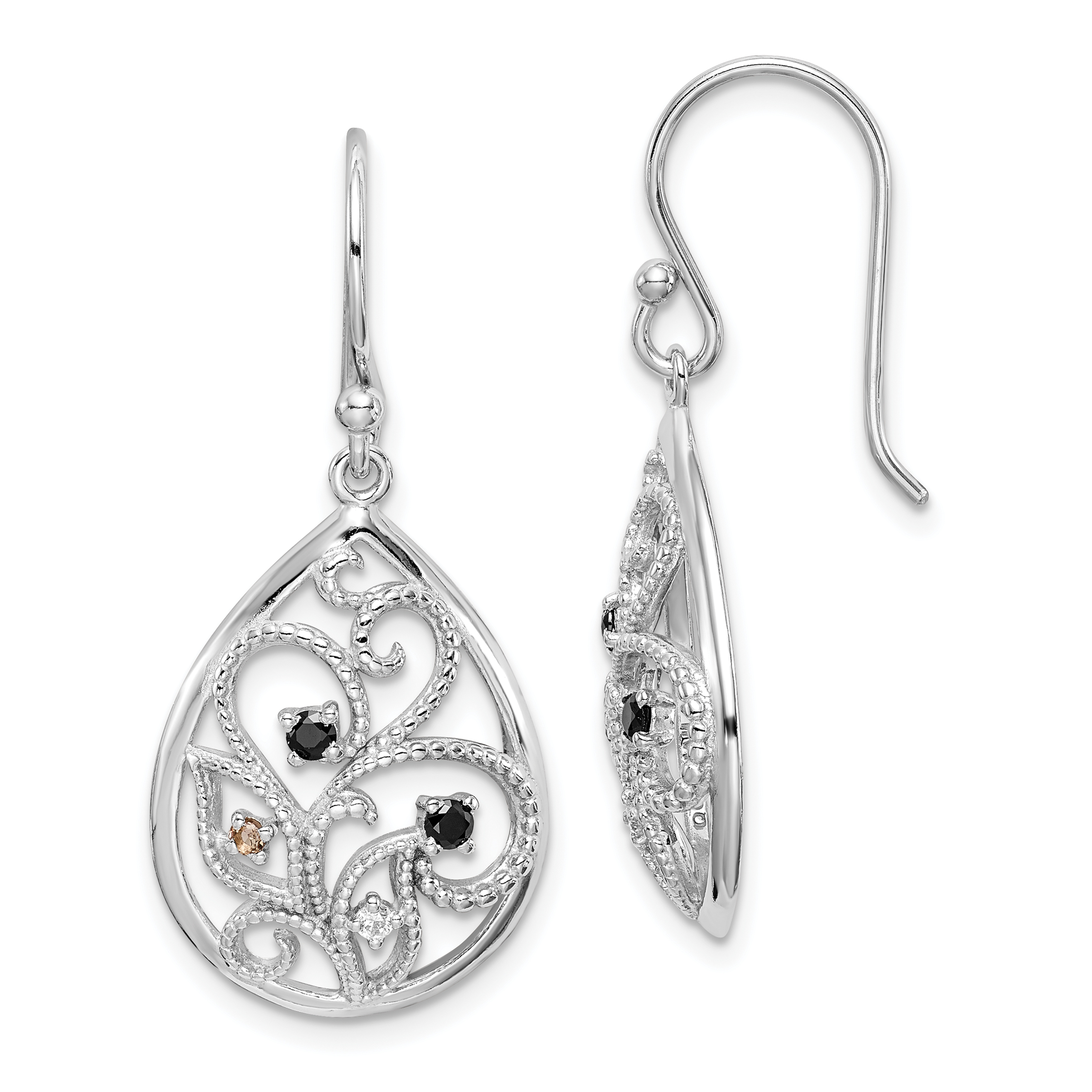 Sterling Silver Rhodium Plated Polished Textured W Cz Dangle Earrings Weight 3 25 Grams Length 38mm Width 17mm