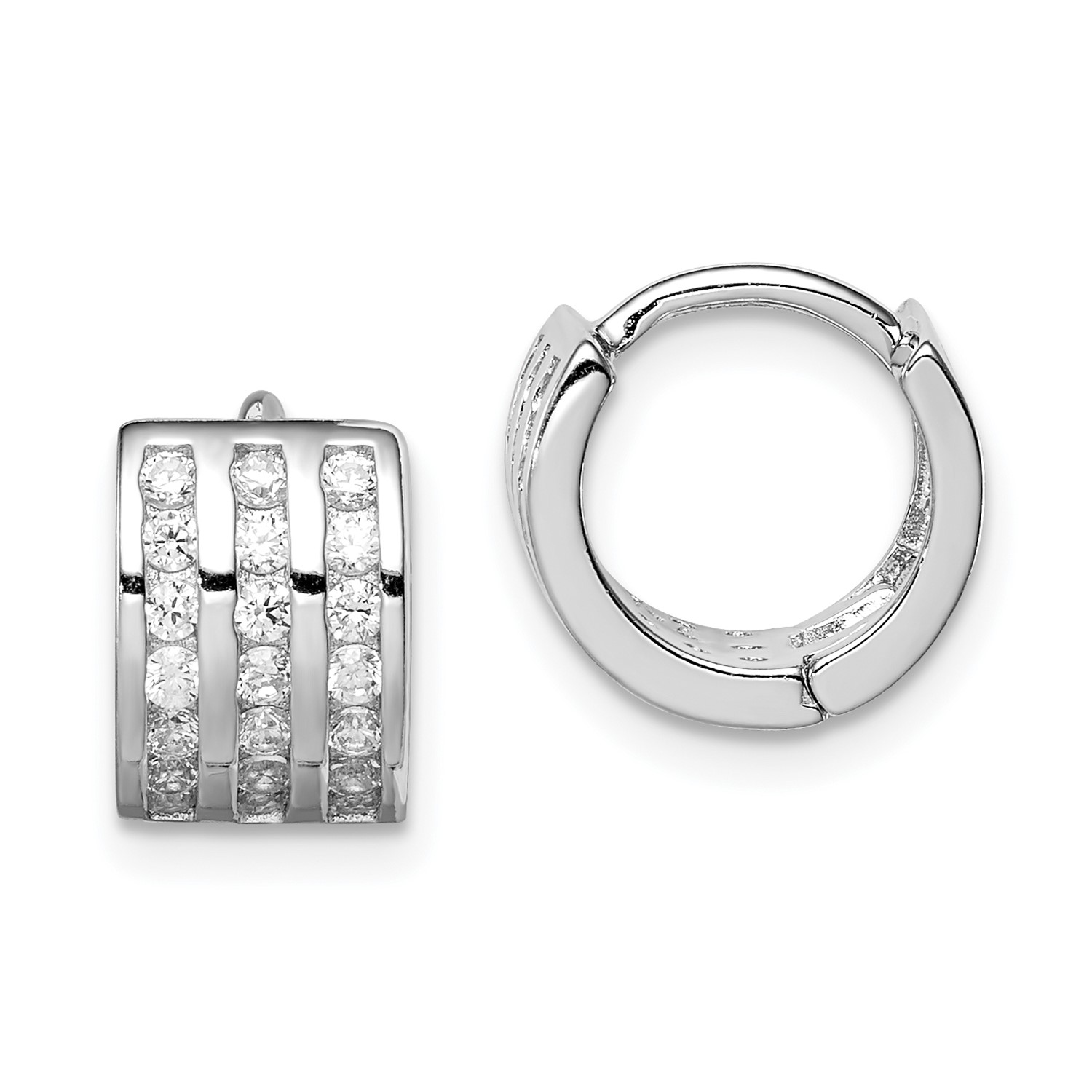 87d40641fe50a Details about Sterling Silver Polished Rhodium-plated 3-row Hinged Hoop  Earrings (0.4IN Diam.)
