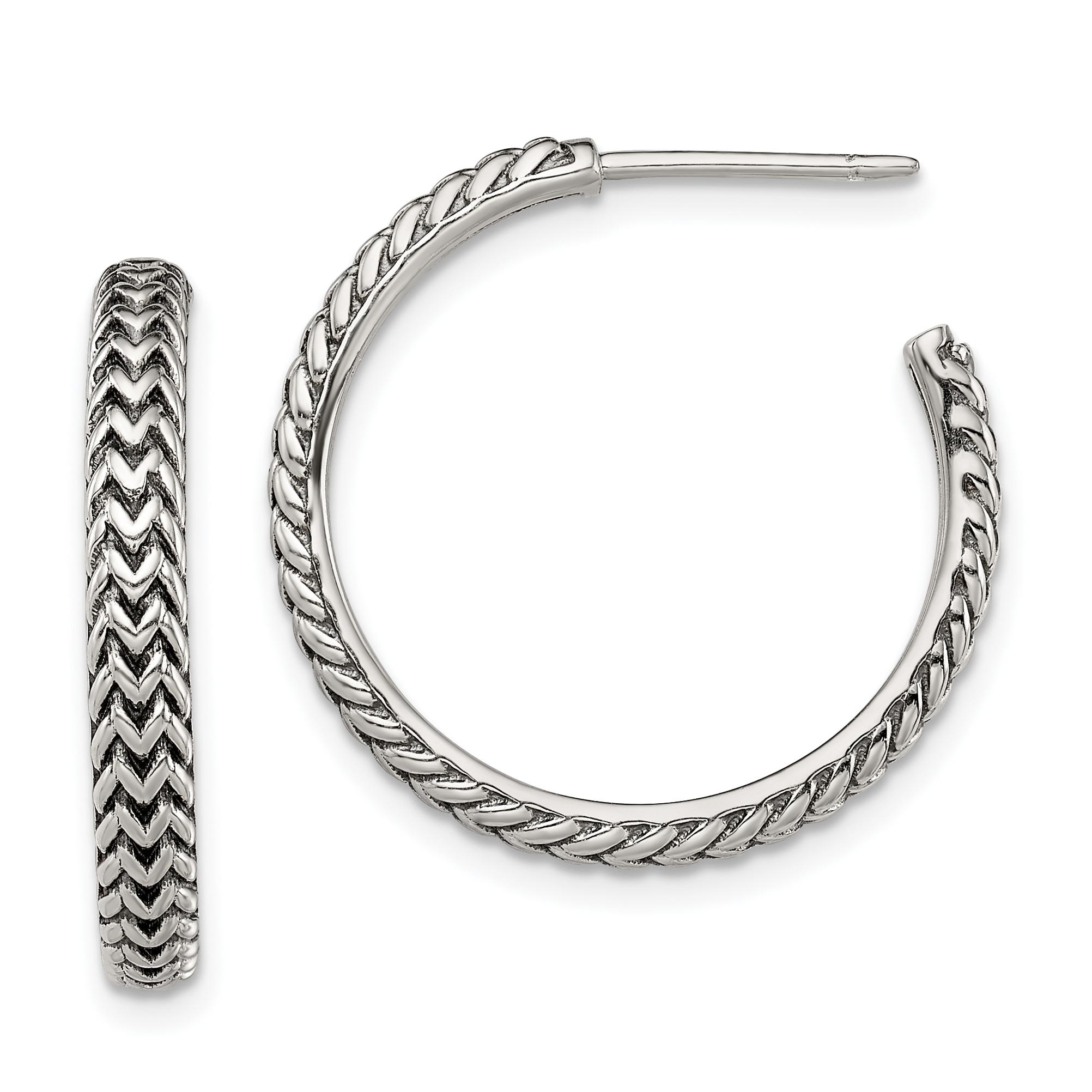 Image Is Loading Sterling Silver Antiqued Large Zig Zag Hoop Earrings