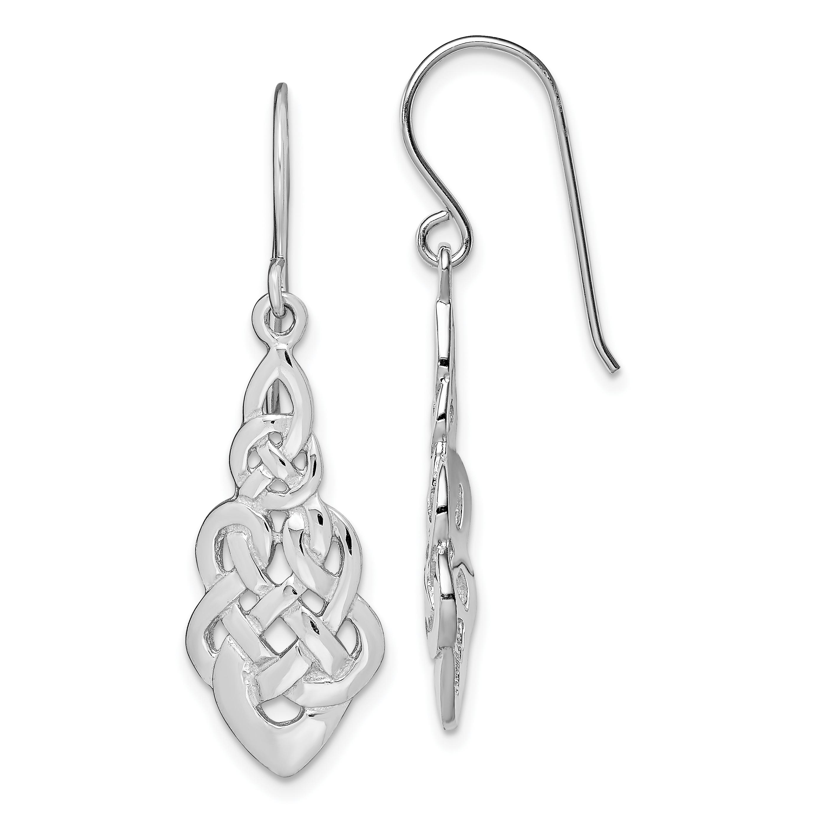 Stainless Steel Polished Shepherd Hook Dangle Earrings 76.57mm