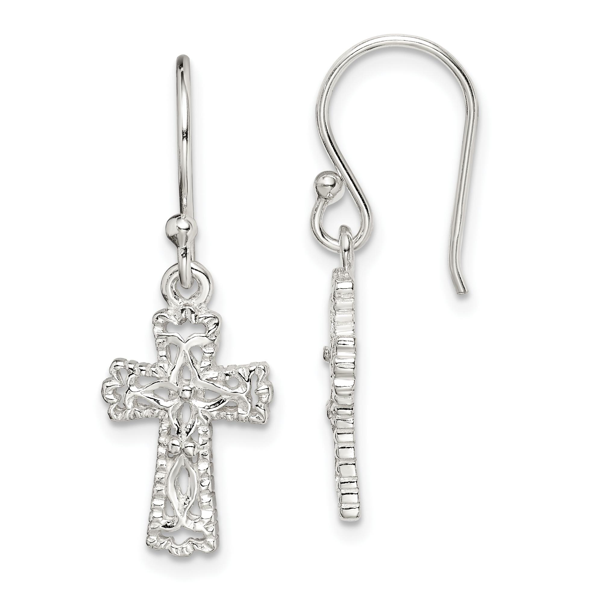 Sterling Silver Cross Earrings Weight 1 67 Grams Length 30mm Width 11mm
