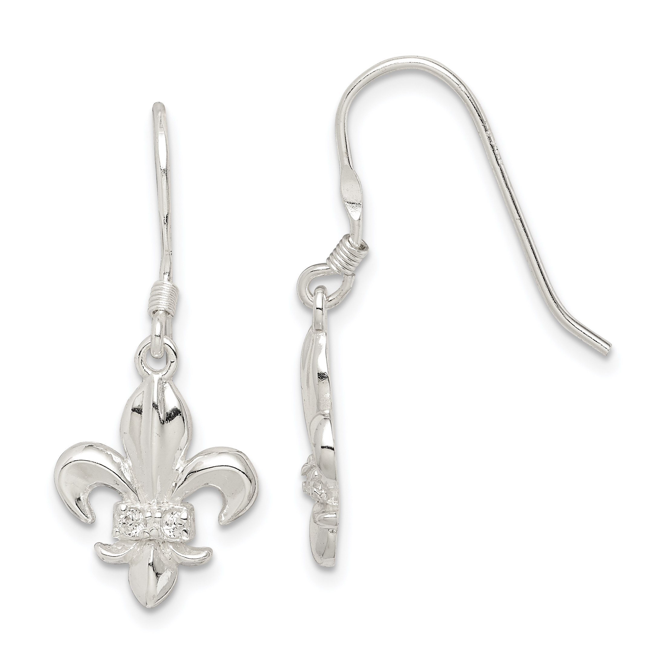 Sterling Silver Cz Fleur De Lis Earrings Weight 2 25 Grams Length 30mm Width 12mm
