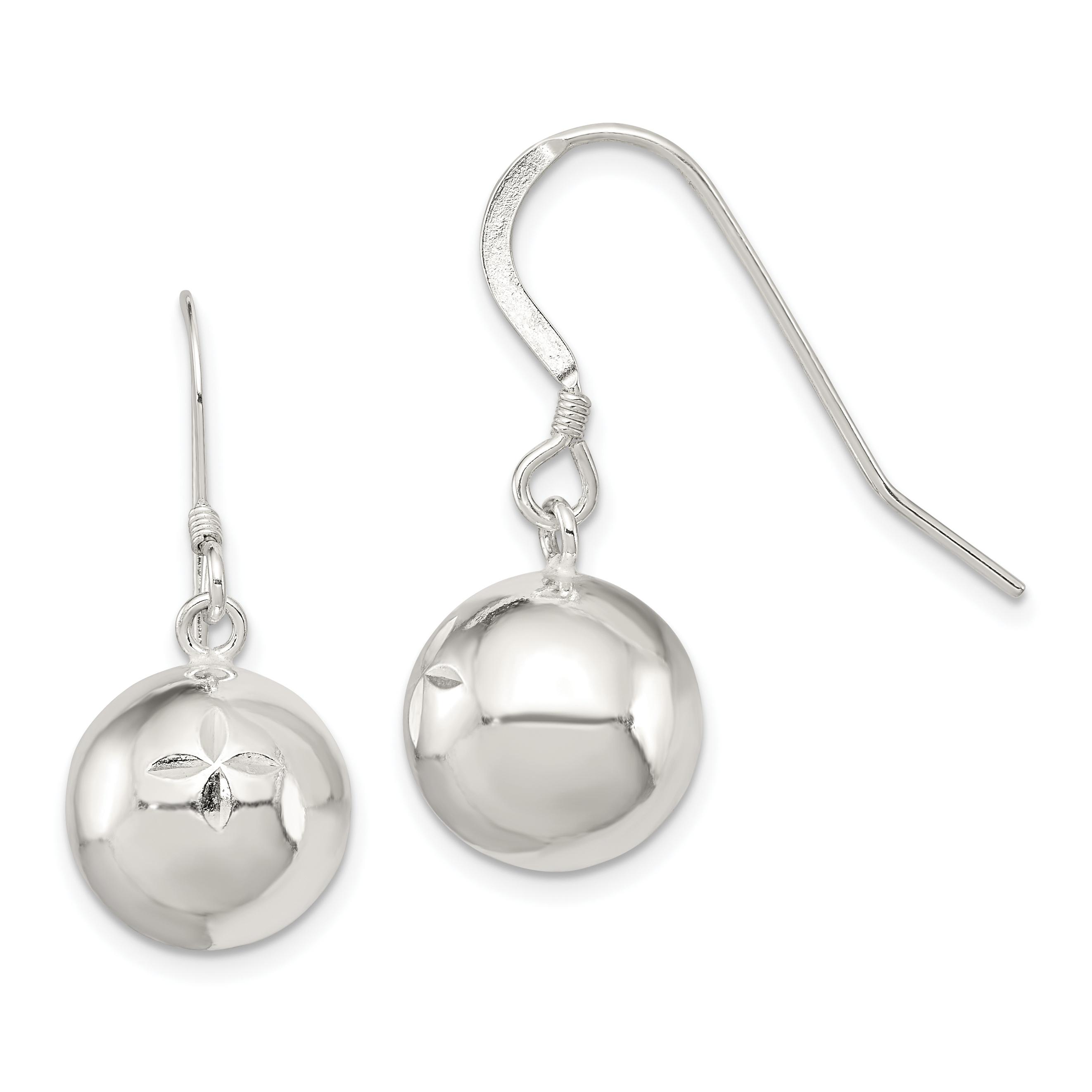 Sterling Silver Diamond Cut Dangle Ball Earrings Weight 4 94 Grams Length 27mm Width 12mm